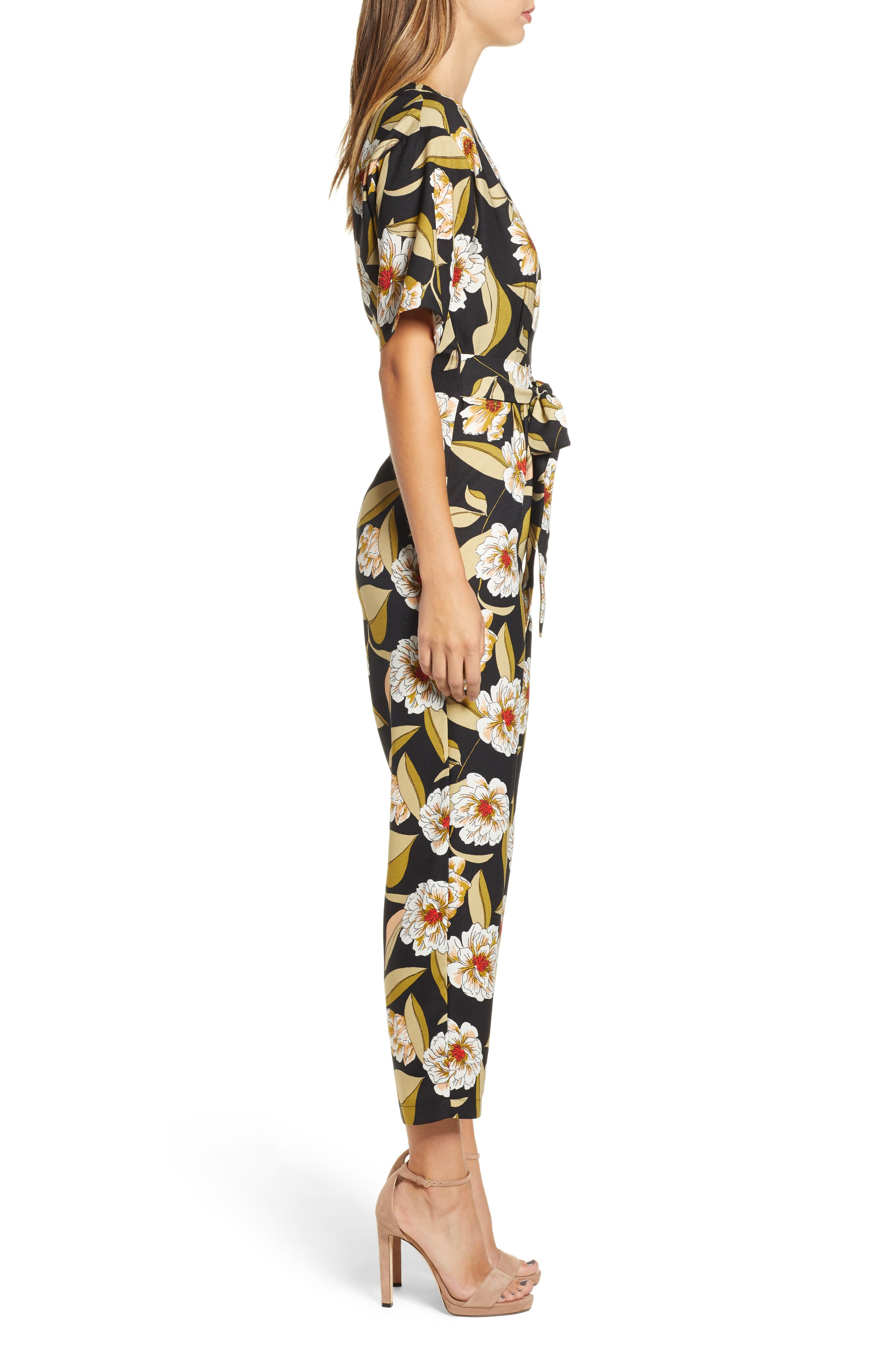 LEITH,                             Belted Floral Jumpsuit,                             Alternate thumbnail 3, color,                             001