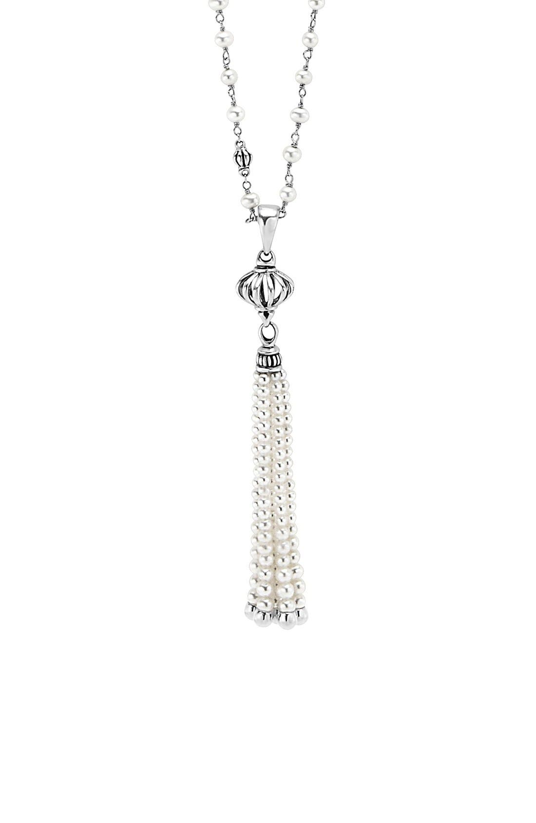 'Luna' Pearl Tassel Necklace,                             Alternate thumbnail 5, color,                             SILVER/ PEARL