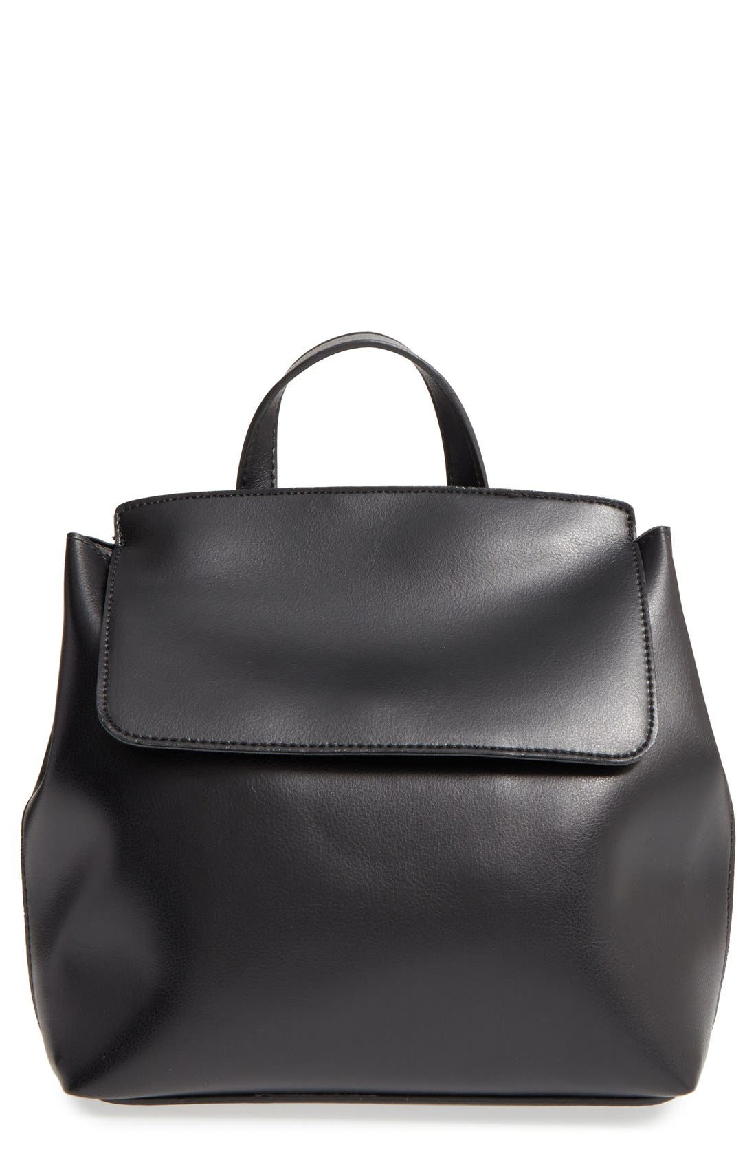 'Minimal Flap' Faux Leather Backpack,                         Main,                         color, 001