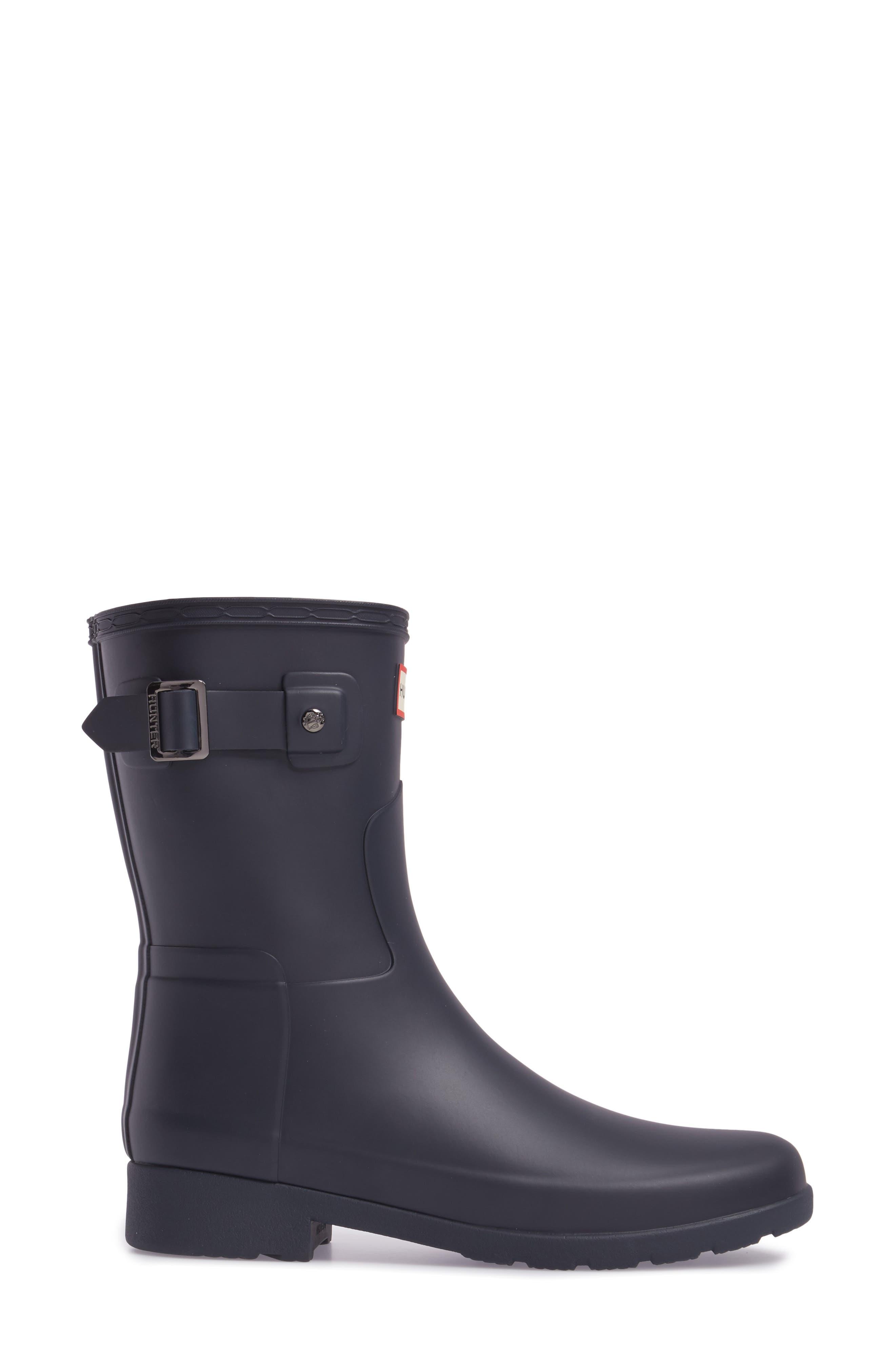 HUNTER,                             Original Refined Short Waterproof Rain Boot,                             Alternate thumbnail 3, color,                             NAVY