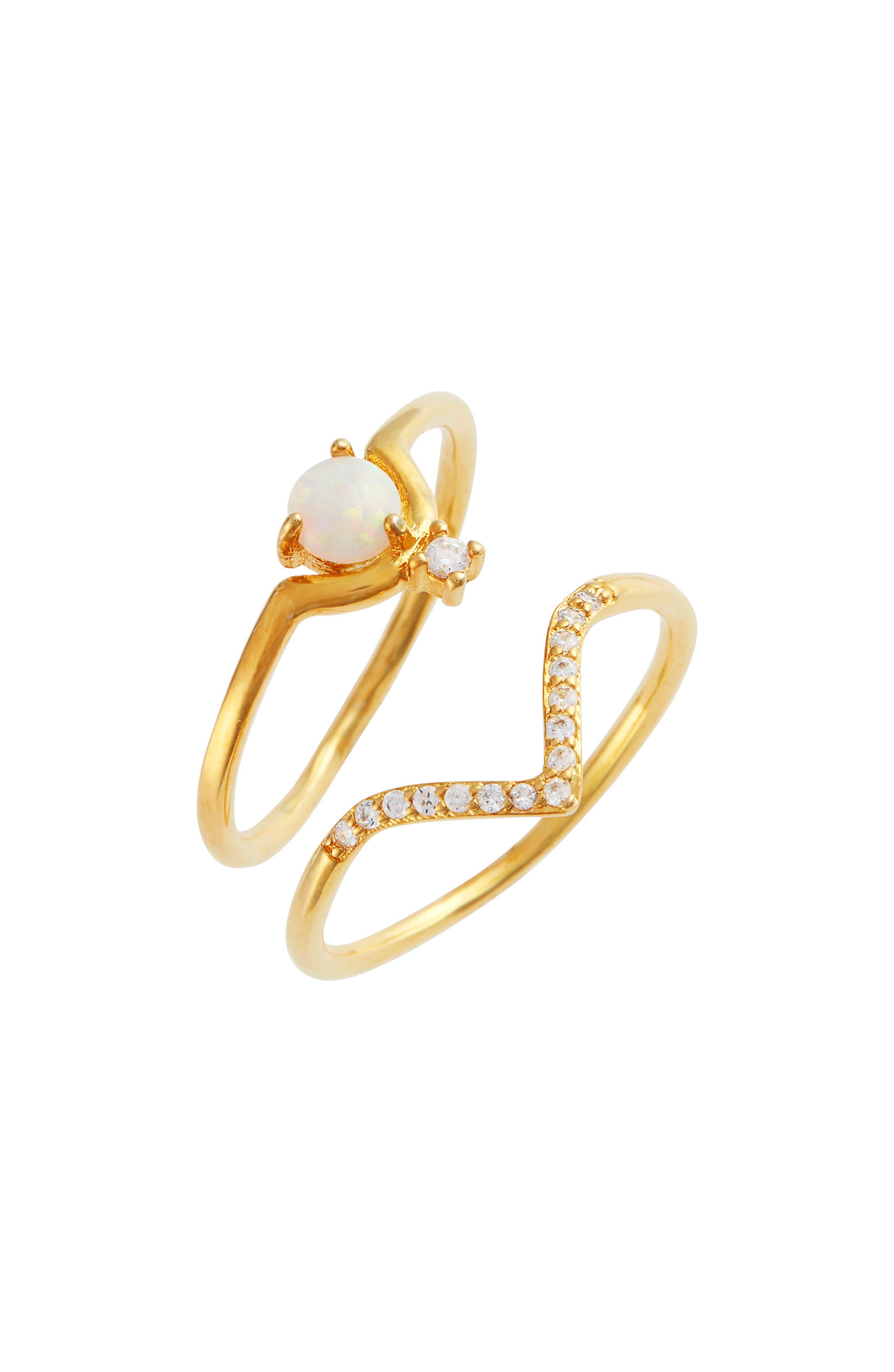 Xenia Set of 2 Fire Opal & Crystal Rings,                             Main thumbnail 1, color,                             710
