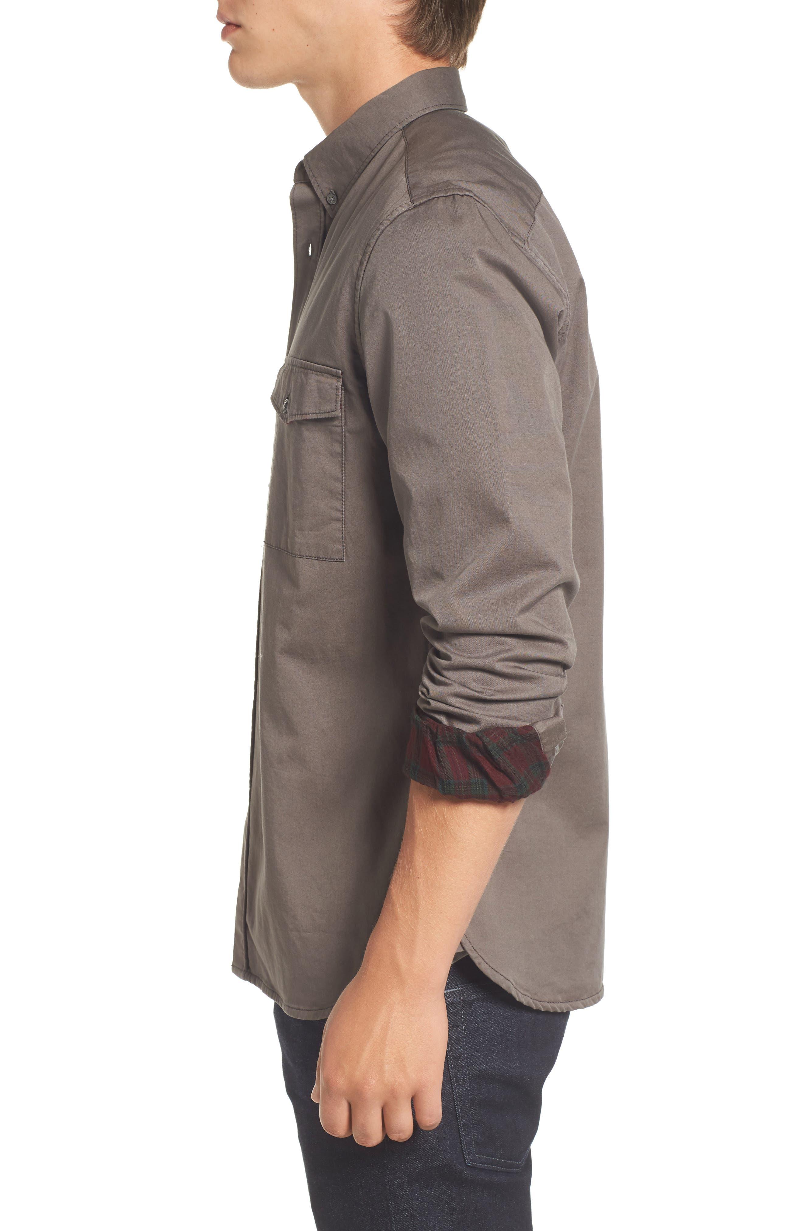 Regular Fit Twill Sport Shirt,                             Alternate thumbnail 3, color,