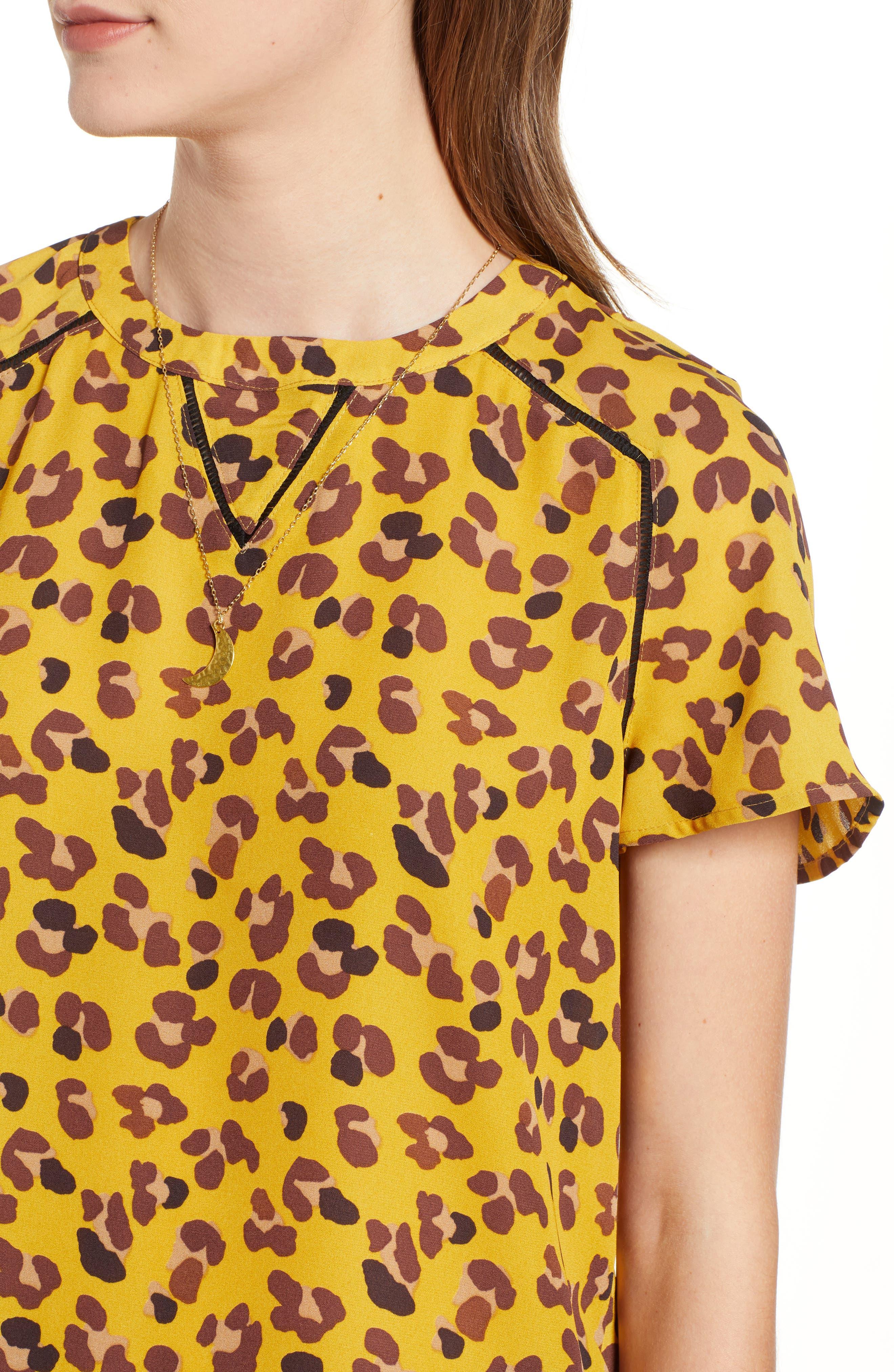 Leopard Print Top,                             Alternate thumbnail 4, color,                             YELLOW LEOPARD PRINT