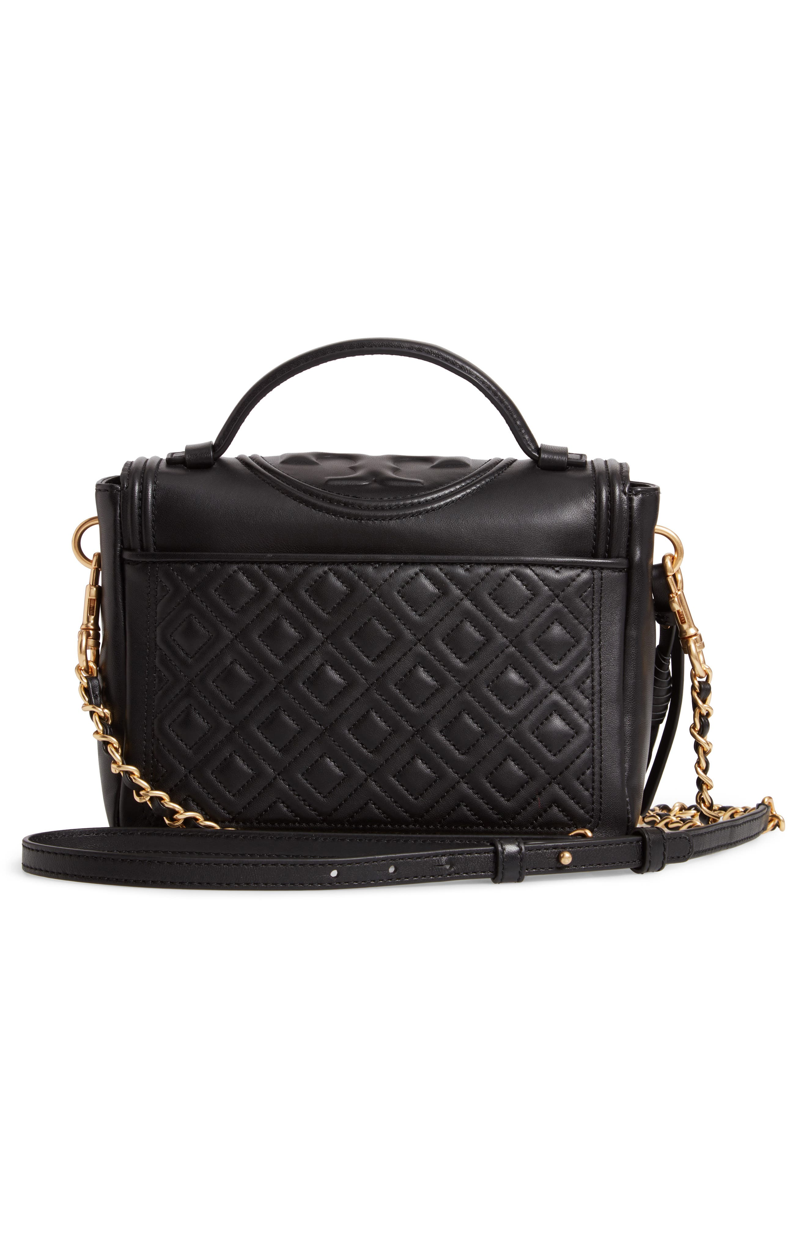 TORY BURCH,                             Fleming Quilted Leather Top Handle Satchel,                             Alternate thumbnail 3, color,                             BLACK