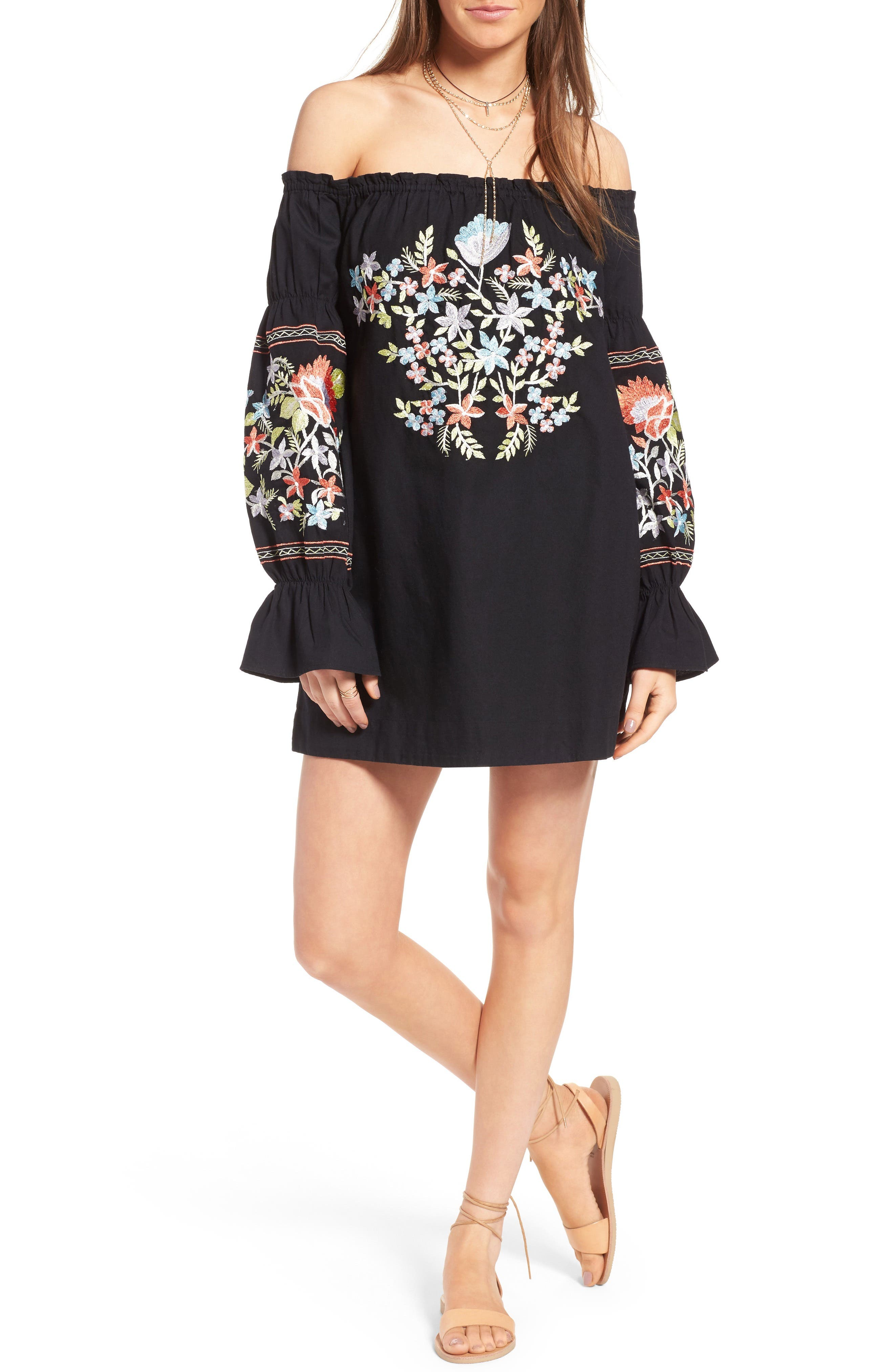 Fleur Du Jour Shift Dress,                         Main,                         color, BLACK