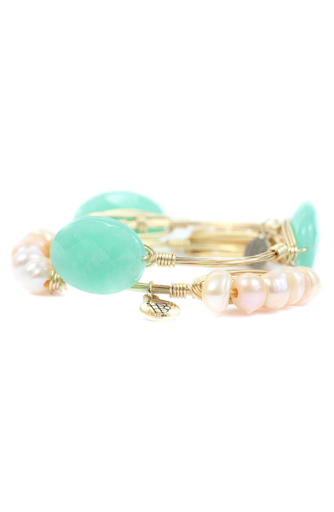 Cultured Peal & Stone Bangle Set, Main, color, GREEN/ GOLD AND BLUSH/ GOLD