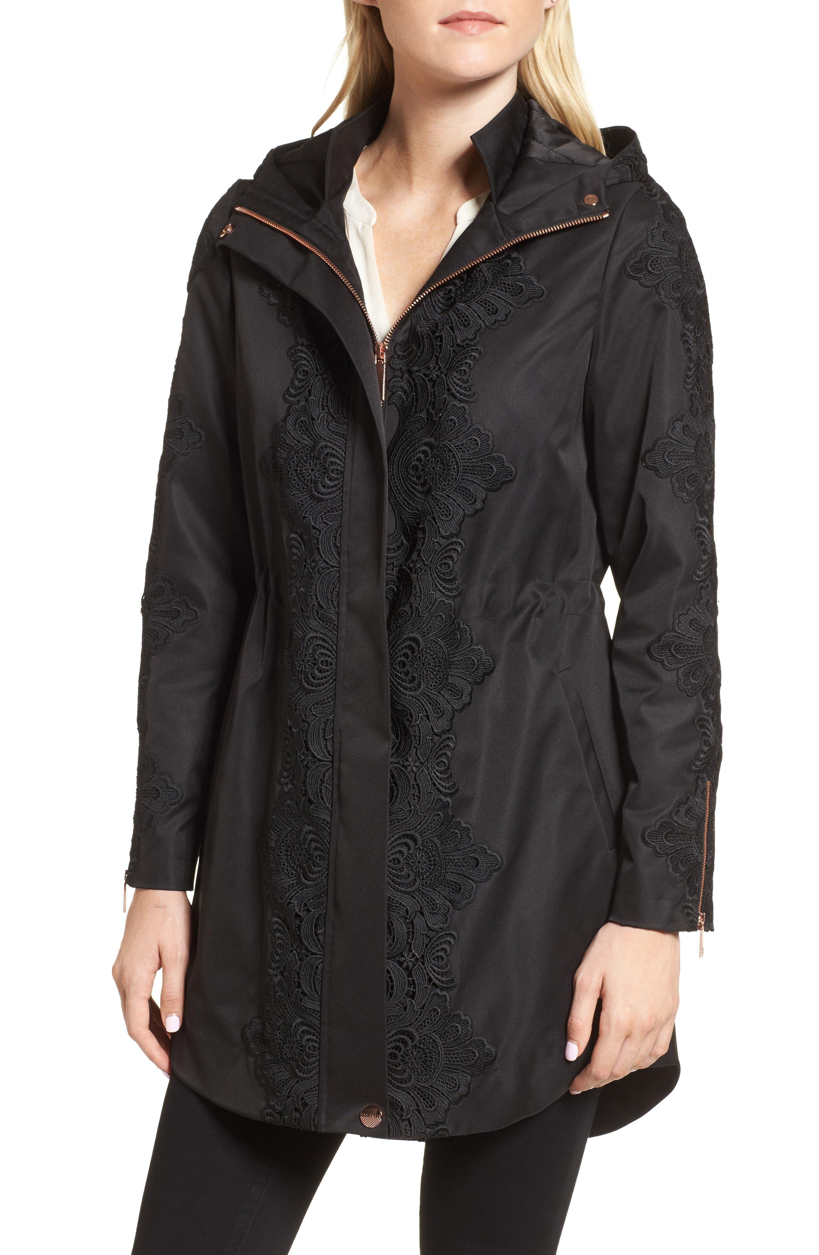 Lace Detail Anorak Jacket,                             Alternate thumbnail 4, color,                             001