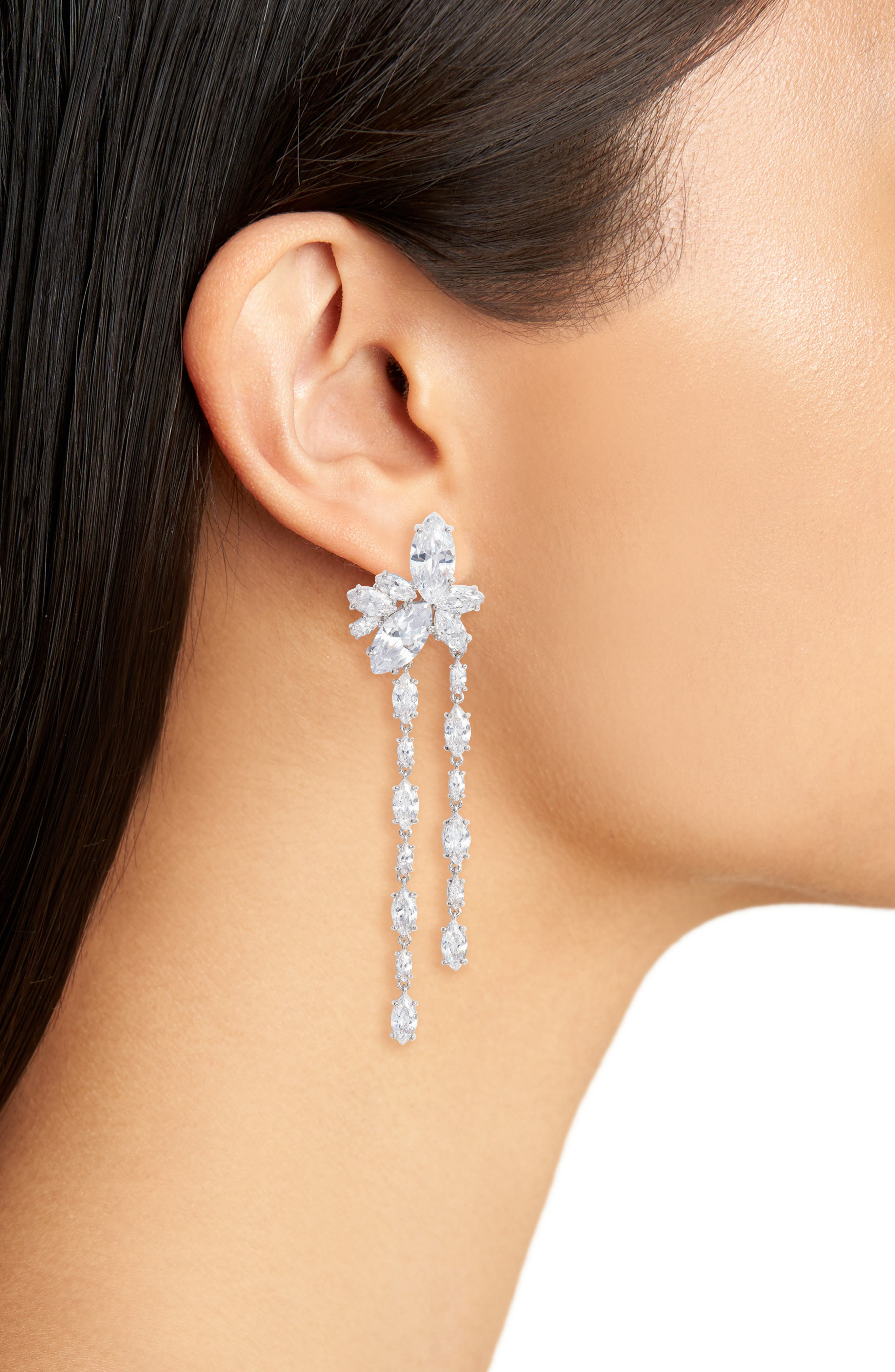 Floral Stone Cluster Drop Earrings,                             Alternate thumbnail 2, color,                             SILVER/ WHITE CZ