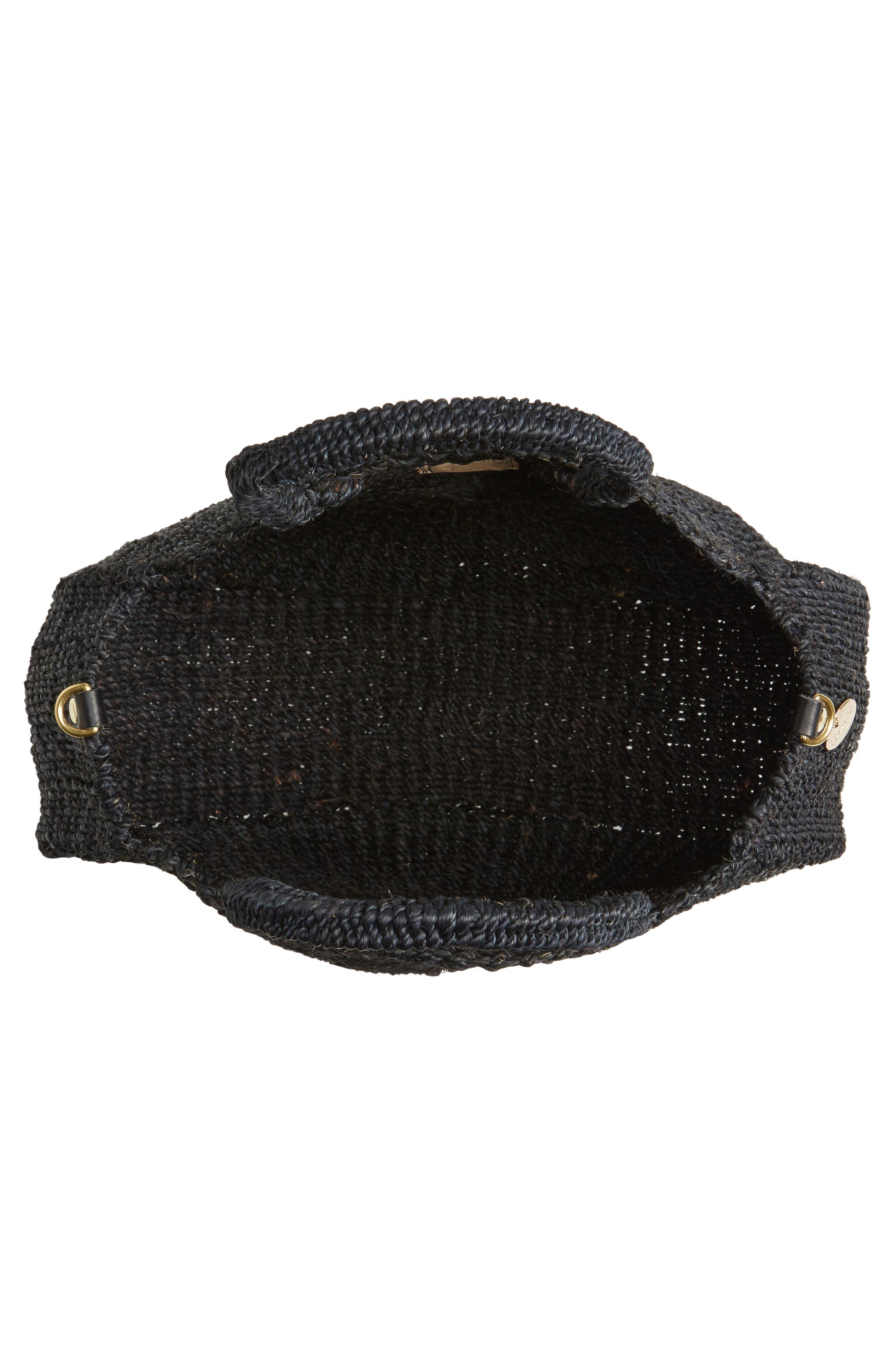Alice Woven Sisal Straw Bag,                             Alternate thumbnail 4, color,                             BLACK WOVEN