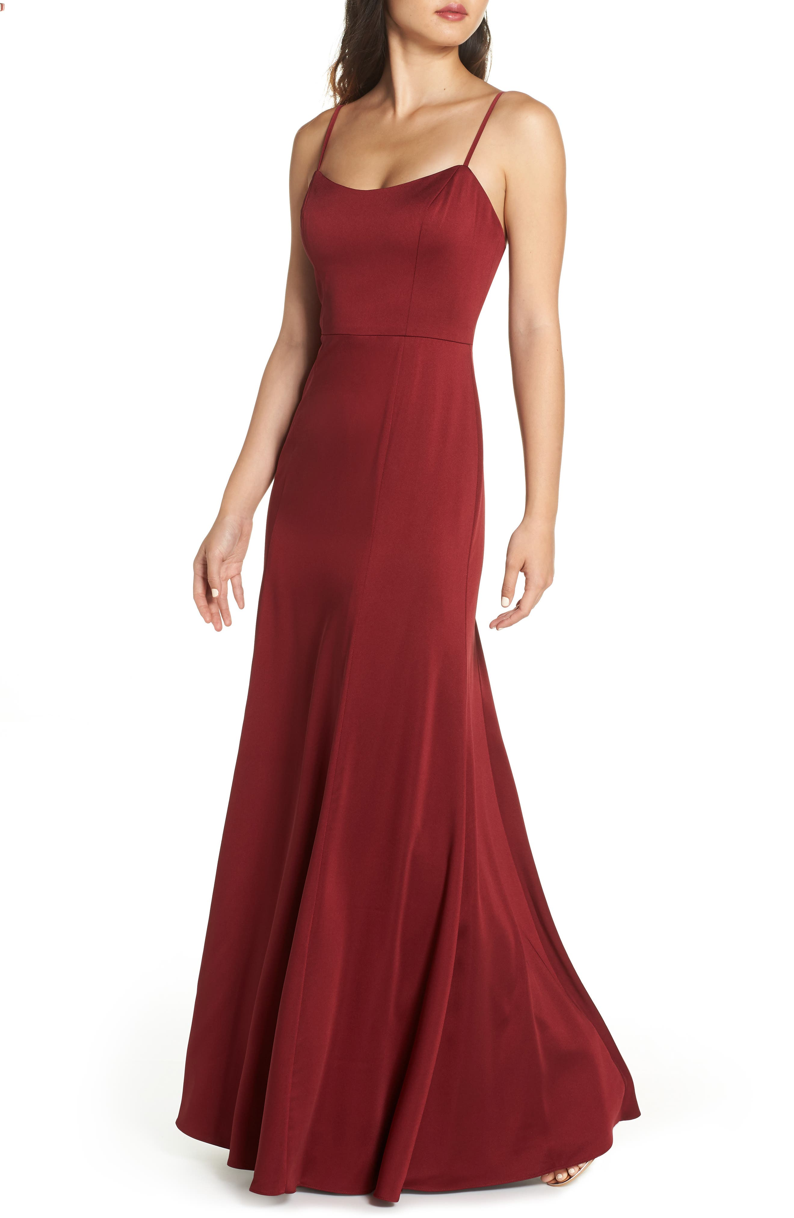 JENNY YOO Aniston Luxe Crepe Trumpet Gown in Cranberry