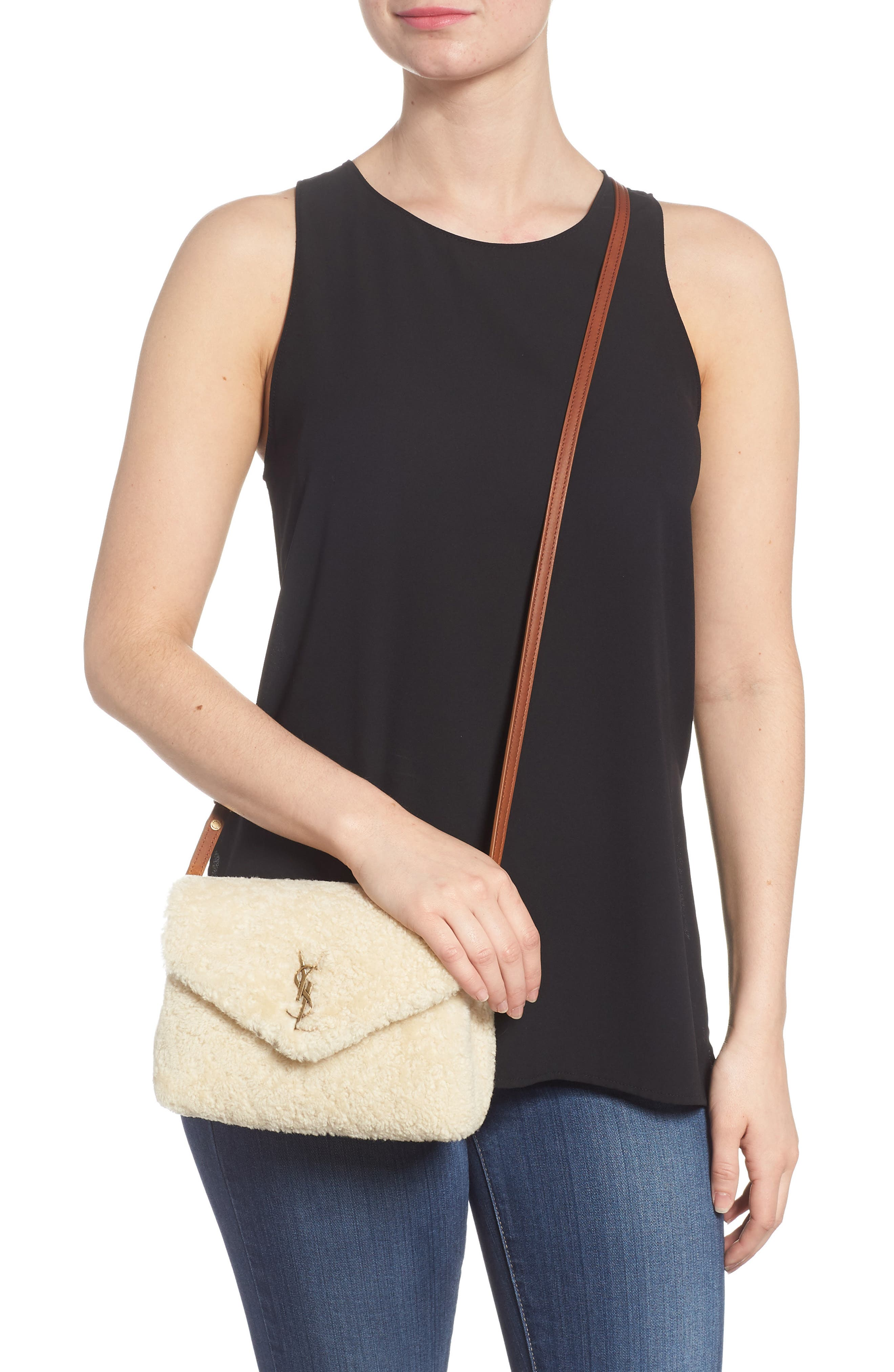 Small Loulou Genuine Shearling Crossbody Bag,                             Alternate thumbnail 2, color,                             NATURALE/ DEEP CUOIO