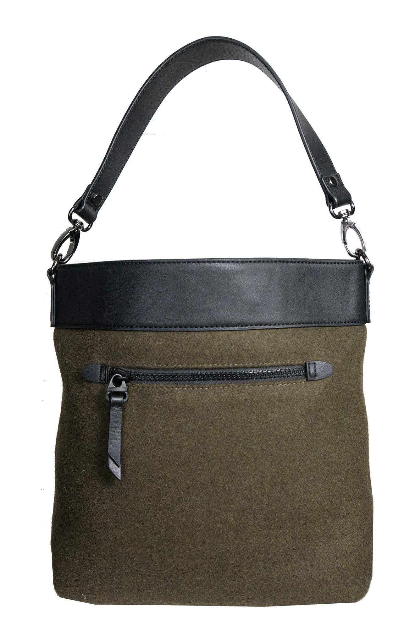 Boheme Wool & Leather Convertible Crossbody Bag,                             Alternate thumbnail 6, color,
