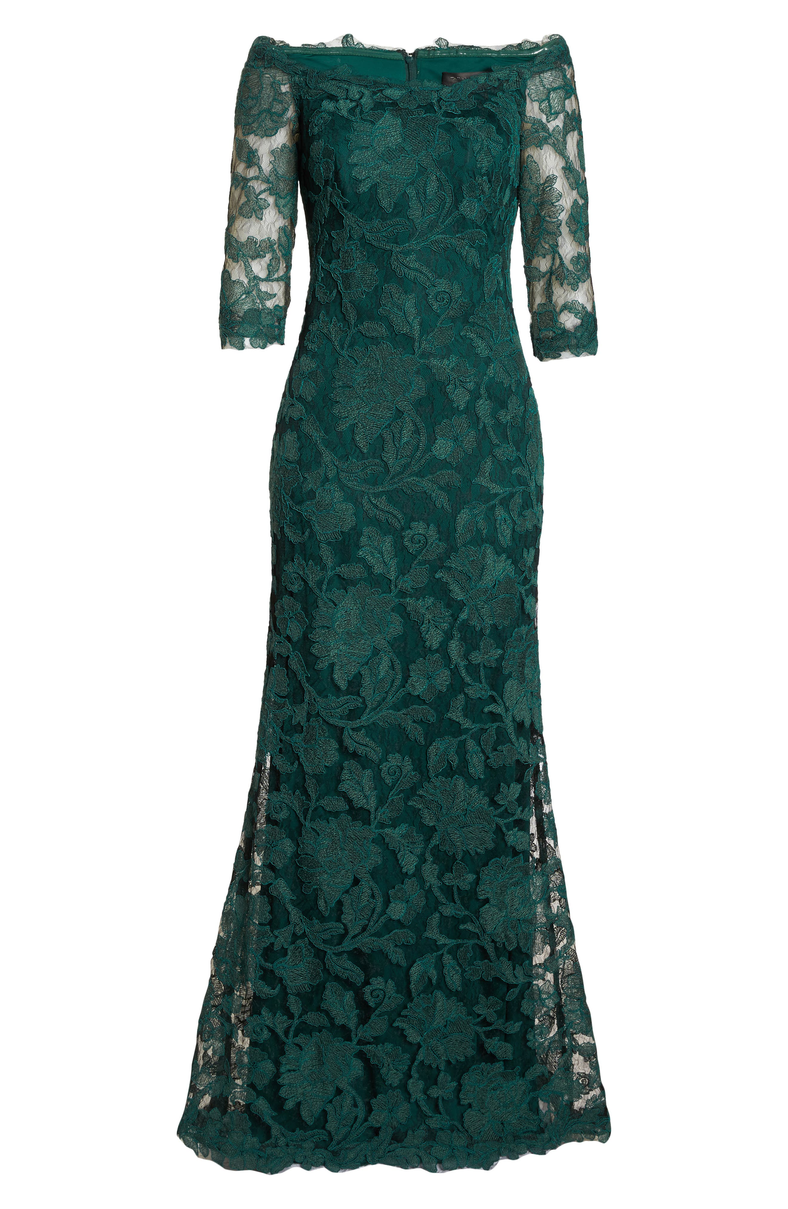 Embroidered Boat Neck Mermaid Gown,                             Alternate thumbnail 7, color,                             SEAGRASS