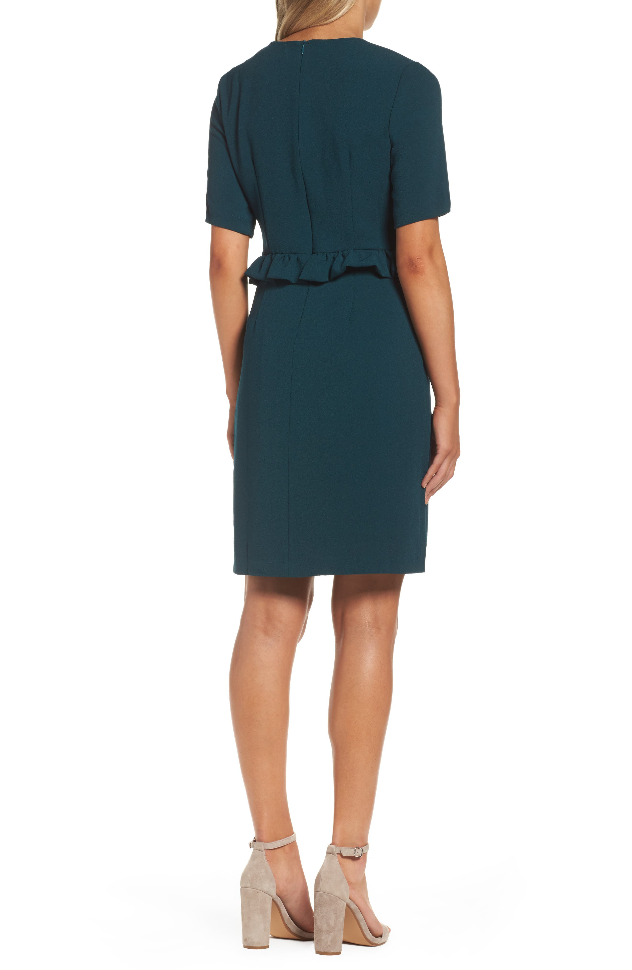 Ruffle Crepe Sheath Dress,                             Alternate thumbnail 2, color,                             345