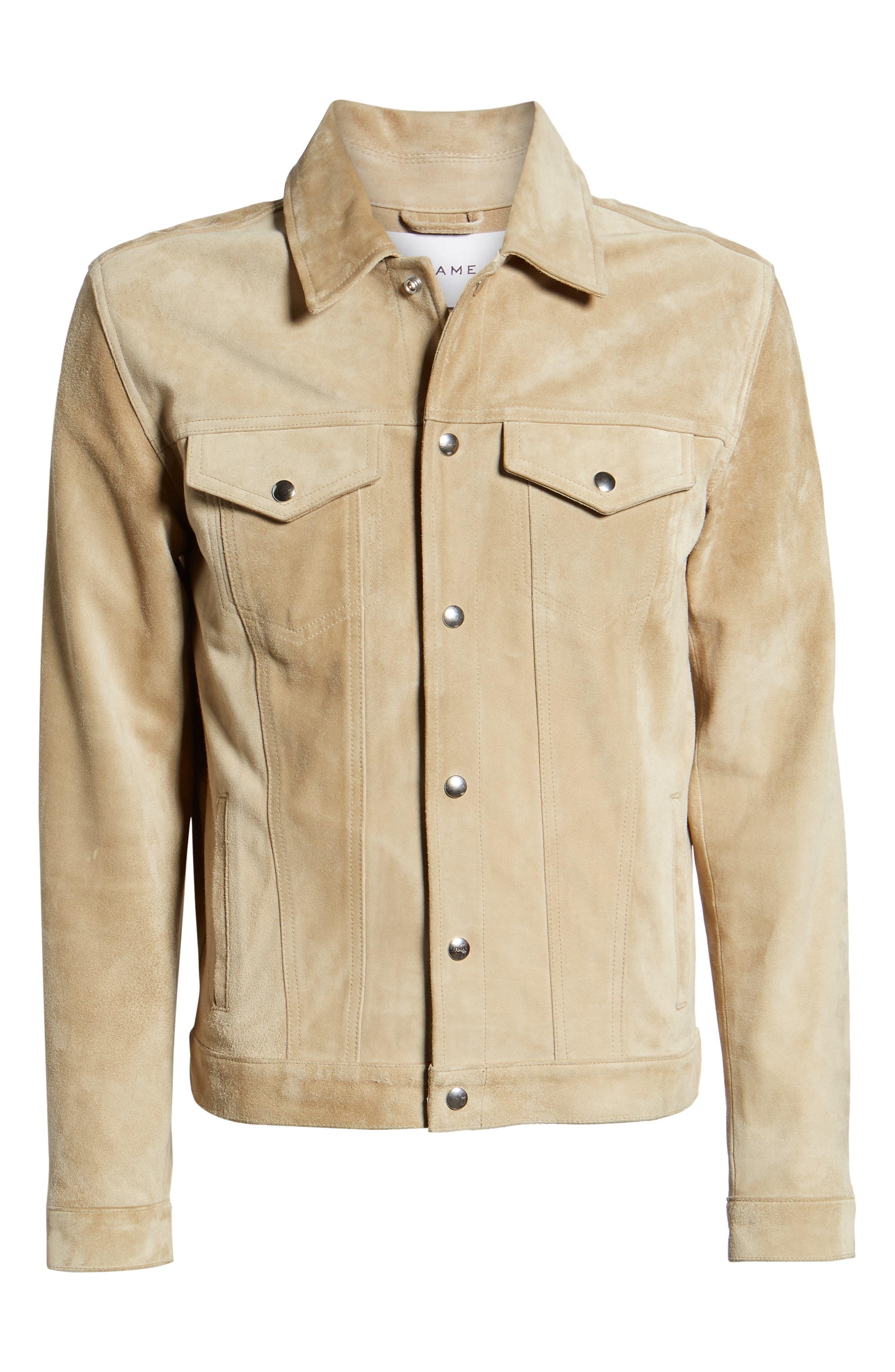 Slim Fit Leather Western Jacket,                             Alternate thumbnail 6, color,                             KHAKI