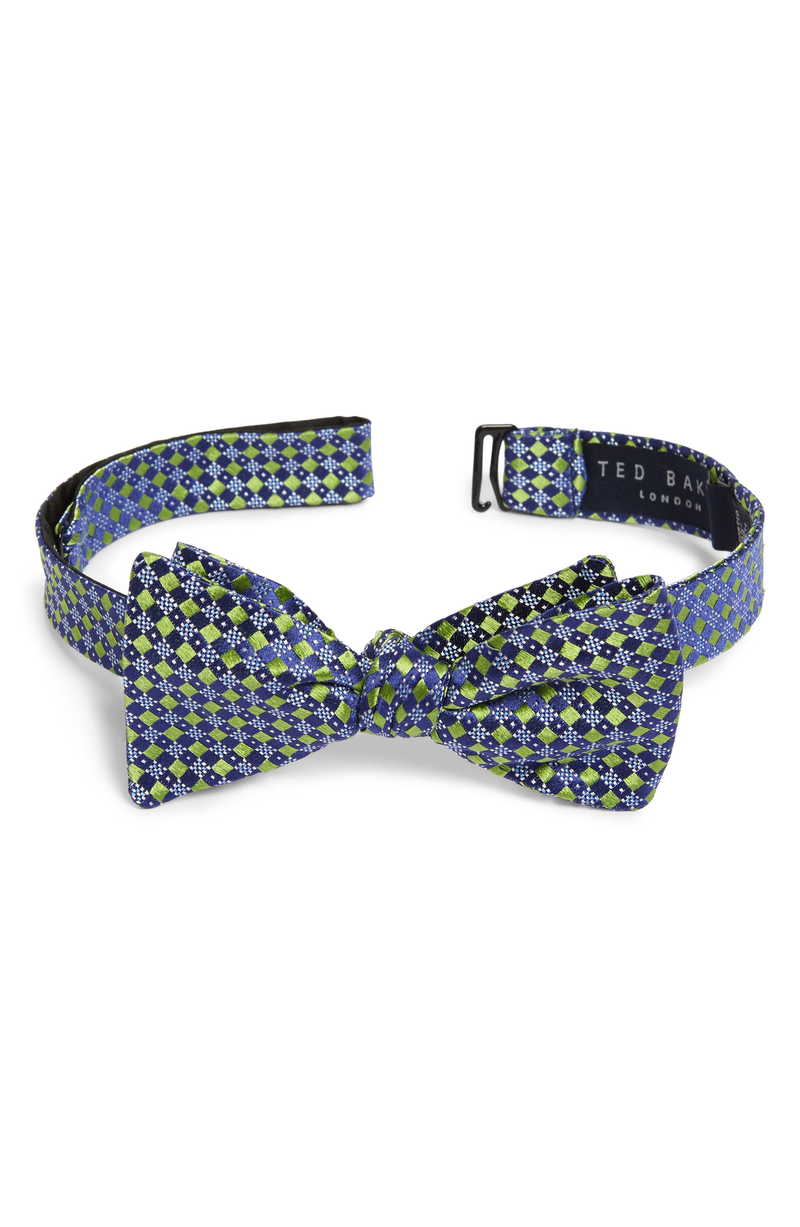 Geometric Silk Bow Tie,                             Main thumbnail 1, color,                             300