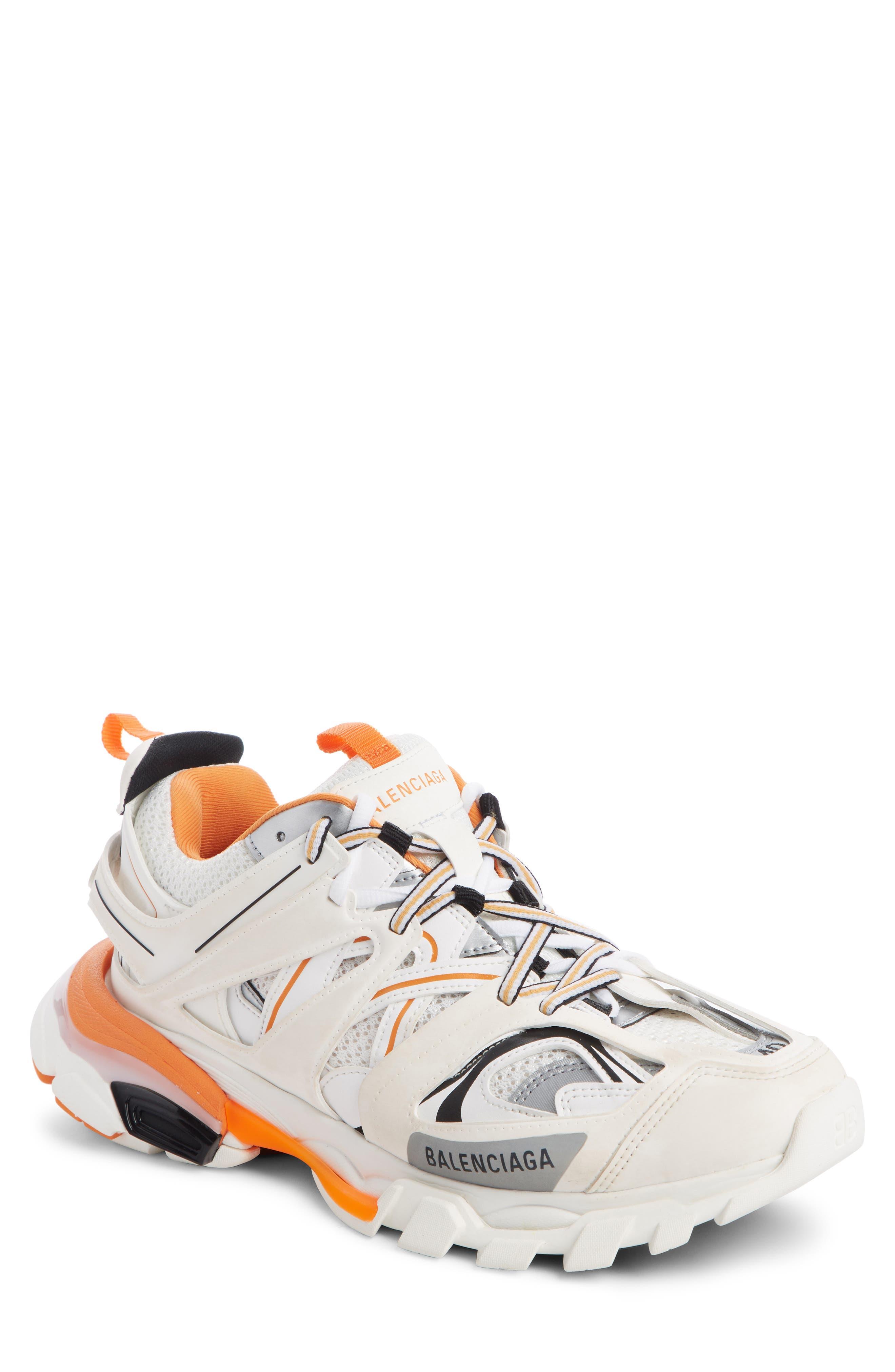 Track Low Top Sneaker in White/ Orange