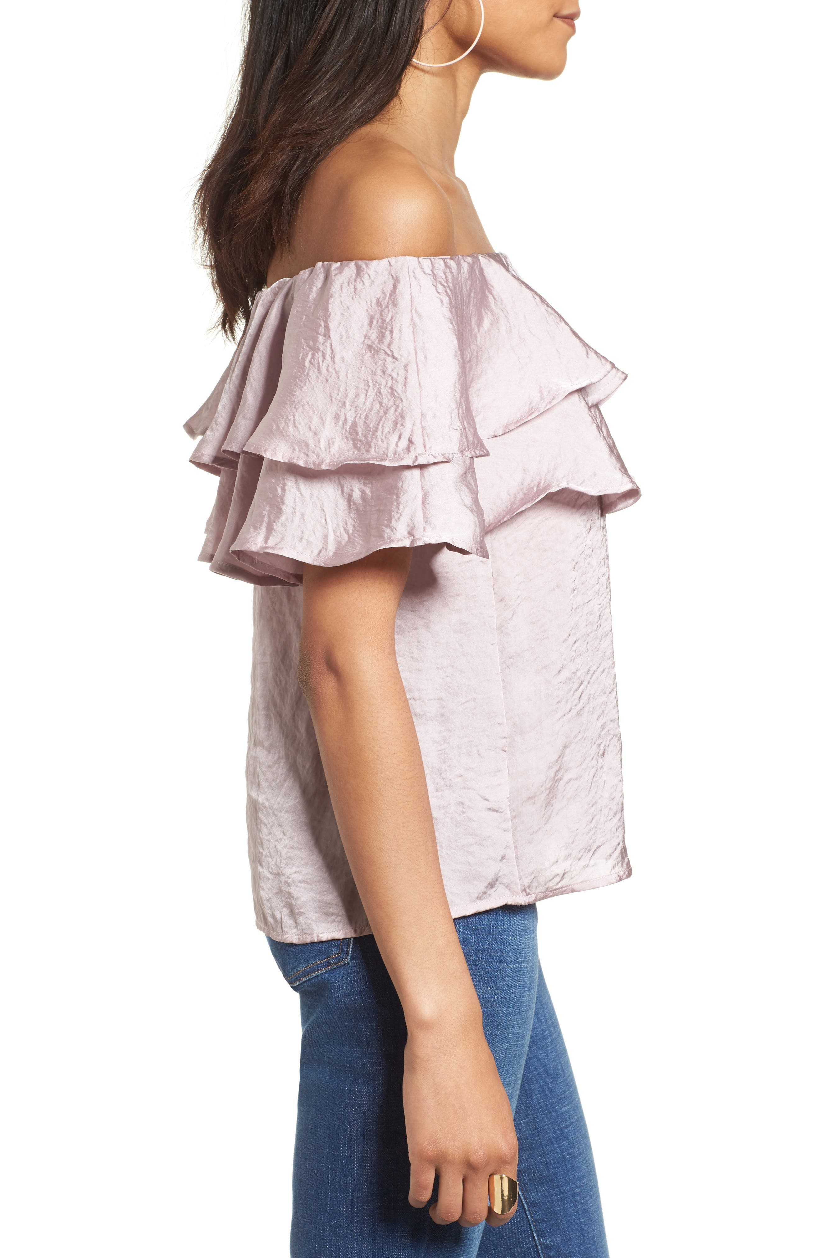 Ruffle Satin Off the Shoulder Top,                             Alternate thumbnail 3, color,                             530