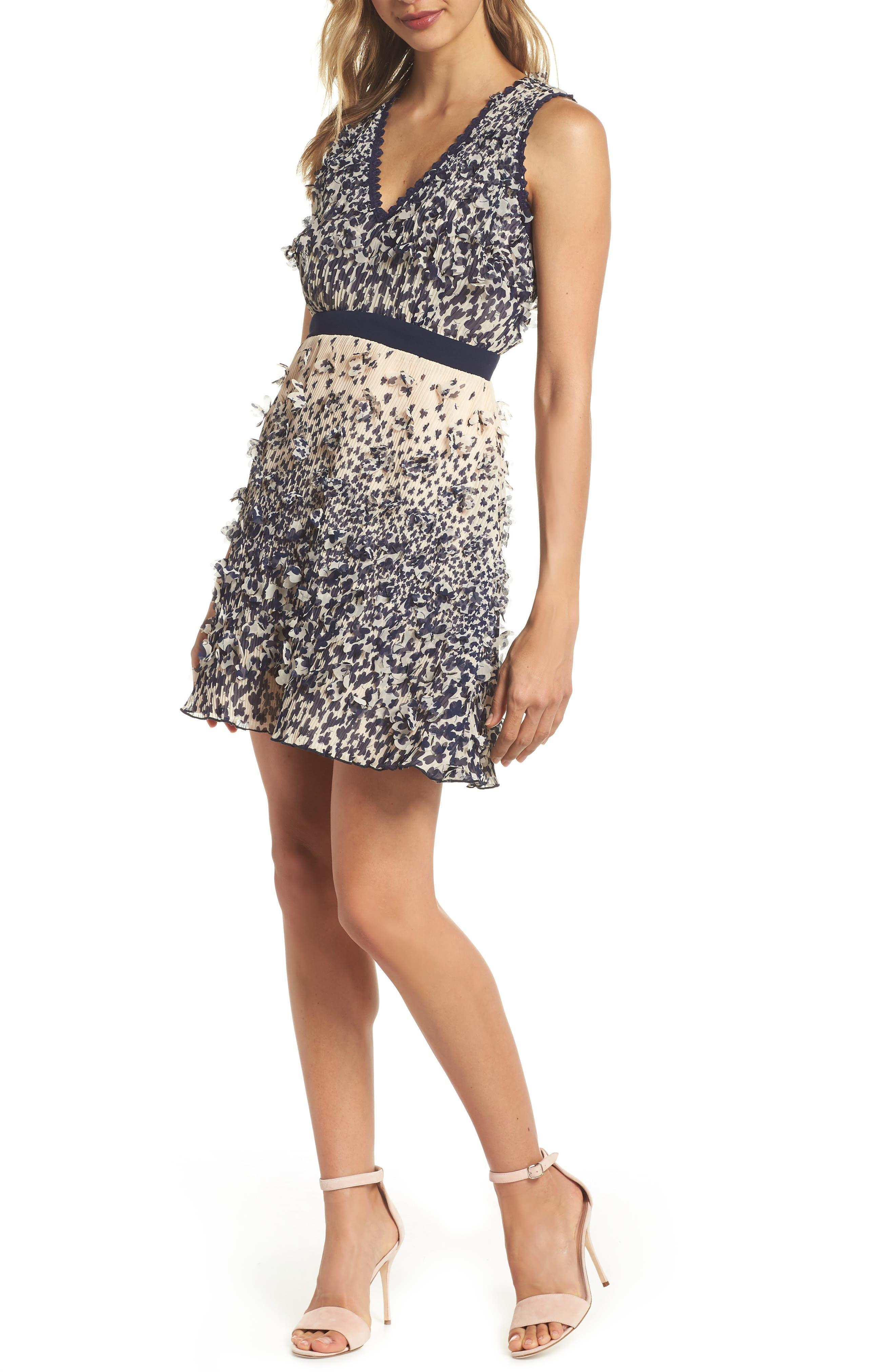 Mariposa 3D Embellished Minidress,                         Main,                         color,