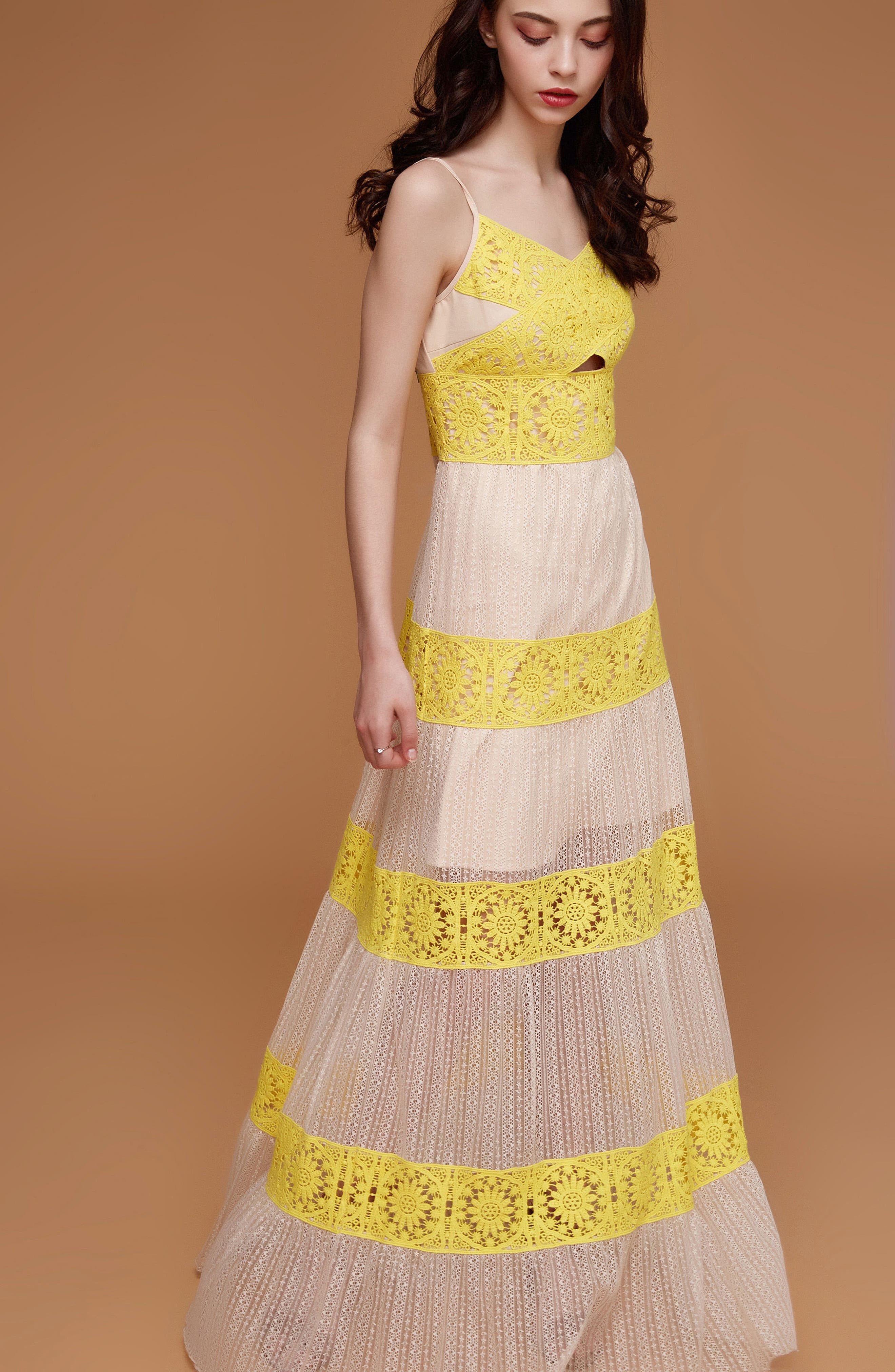 Mia Two-Tone Lace Gown,                             Alternate thumbnail 8, color,                             YELLOW/ NUDE