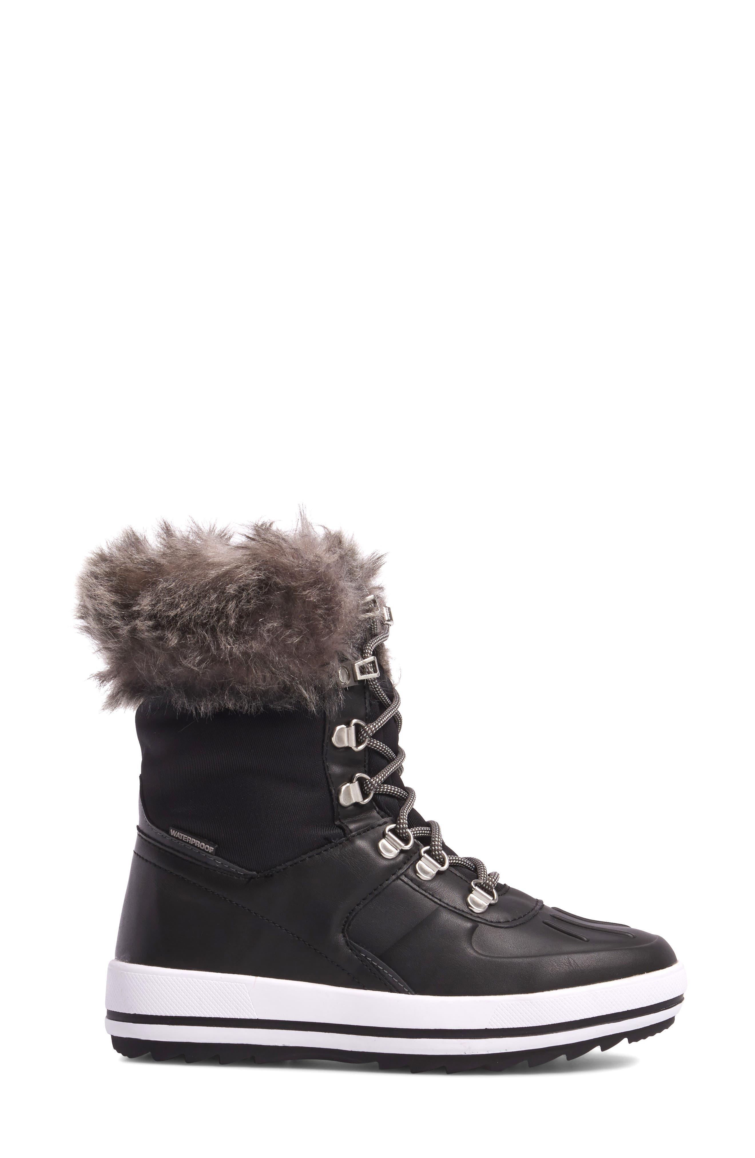 Viper Waterproof Snow Boot with Faux Fur Trim,                             Alternate thumbnail 3, color,                             BLACK