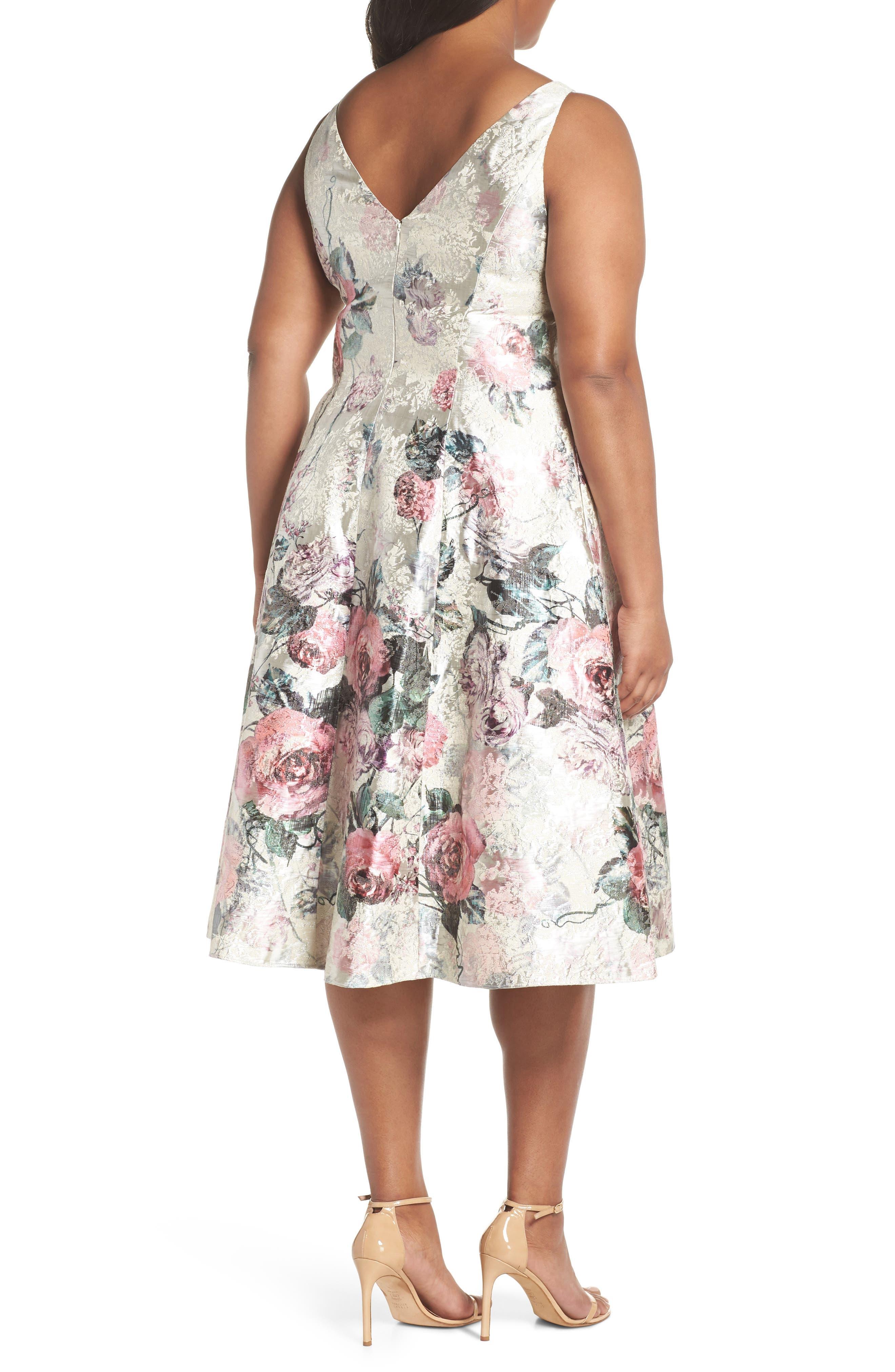 Print Jacquard Tea Length Dress,                             Alternate thumbnail 2, color,                             640