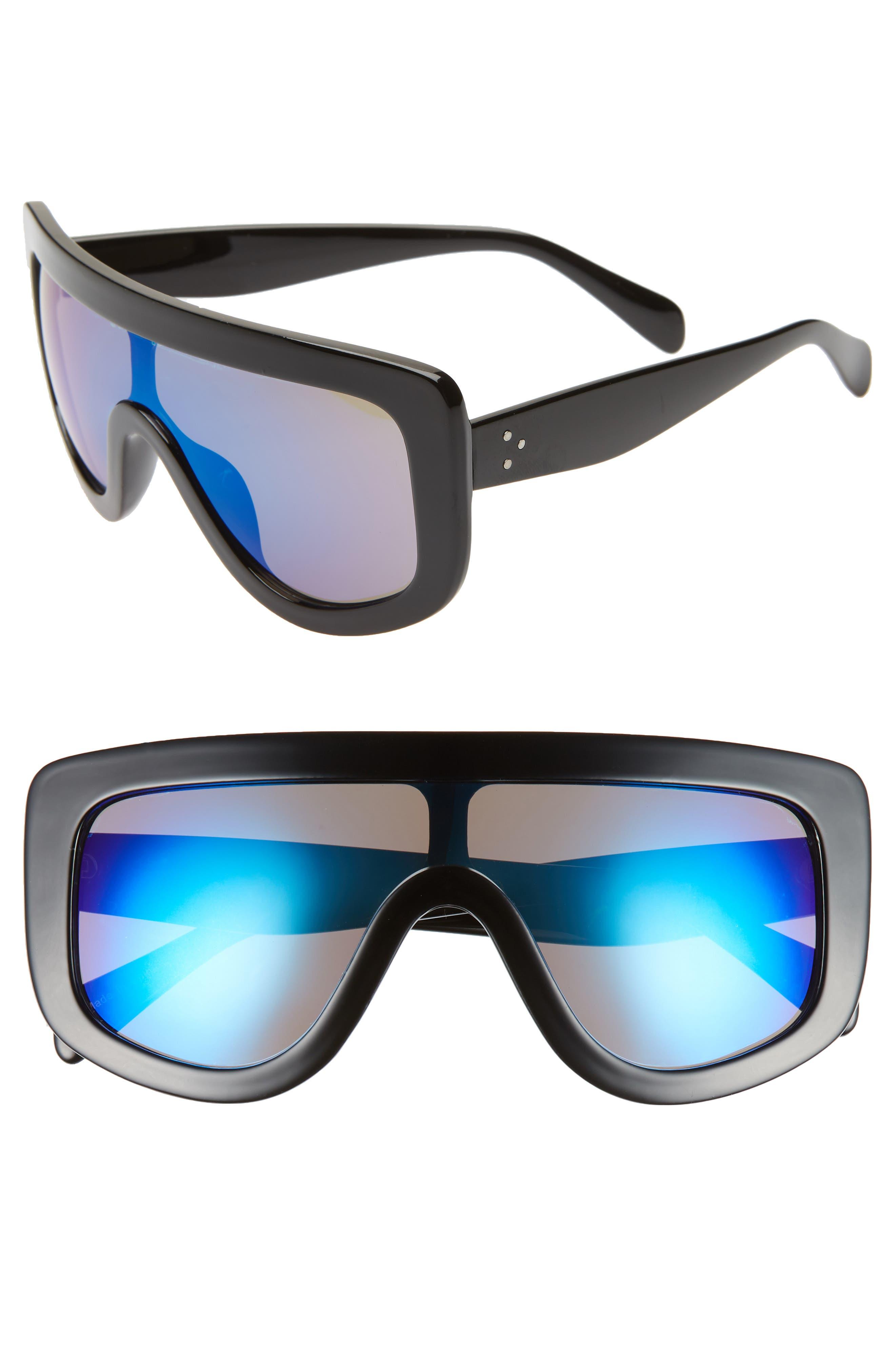 Goggle Shield Sunglasses,                             Main thumbnail 1, color,                             BLACK/ BLUE
