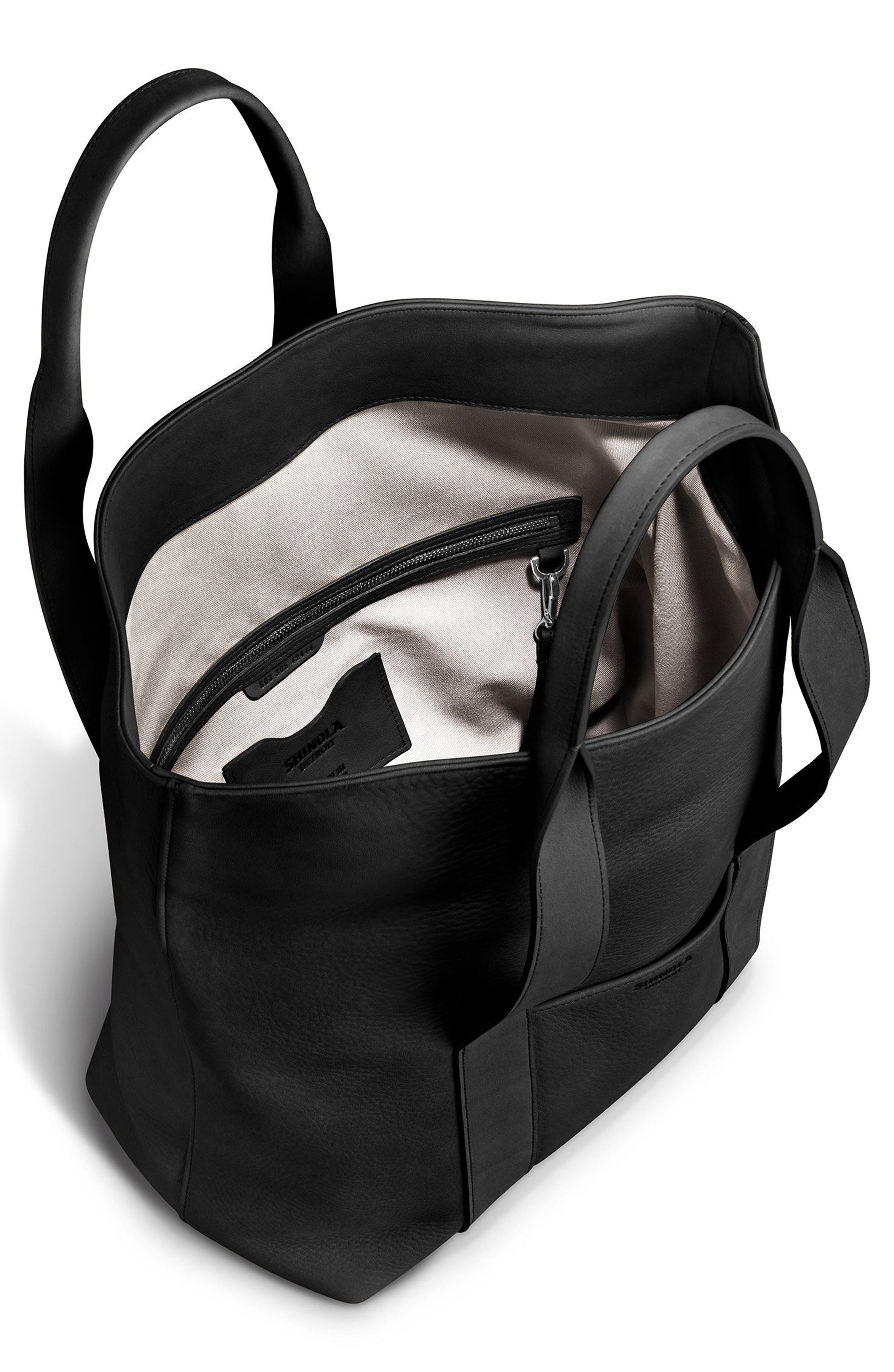 Cass Dearborn Leather Tote,                             Alternate thumbnail 4, color,                             BLACK