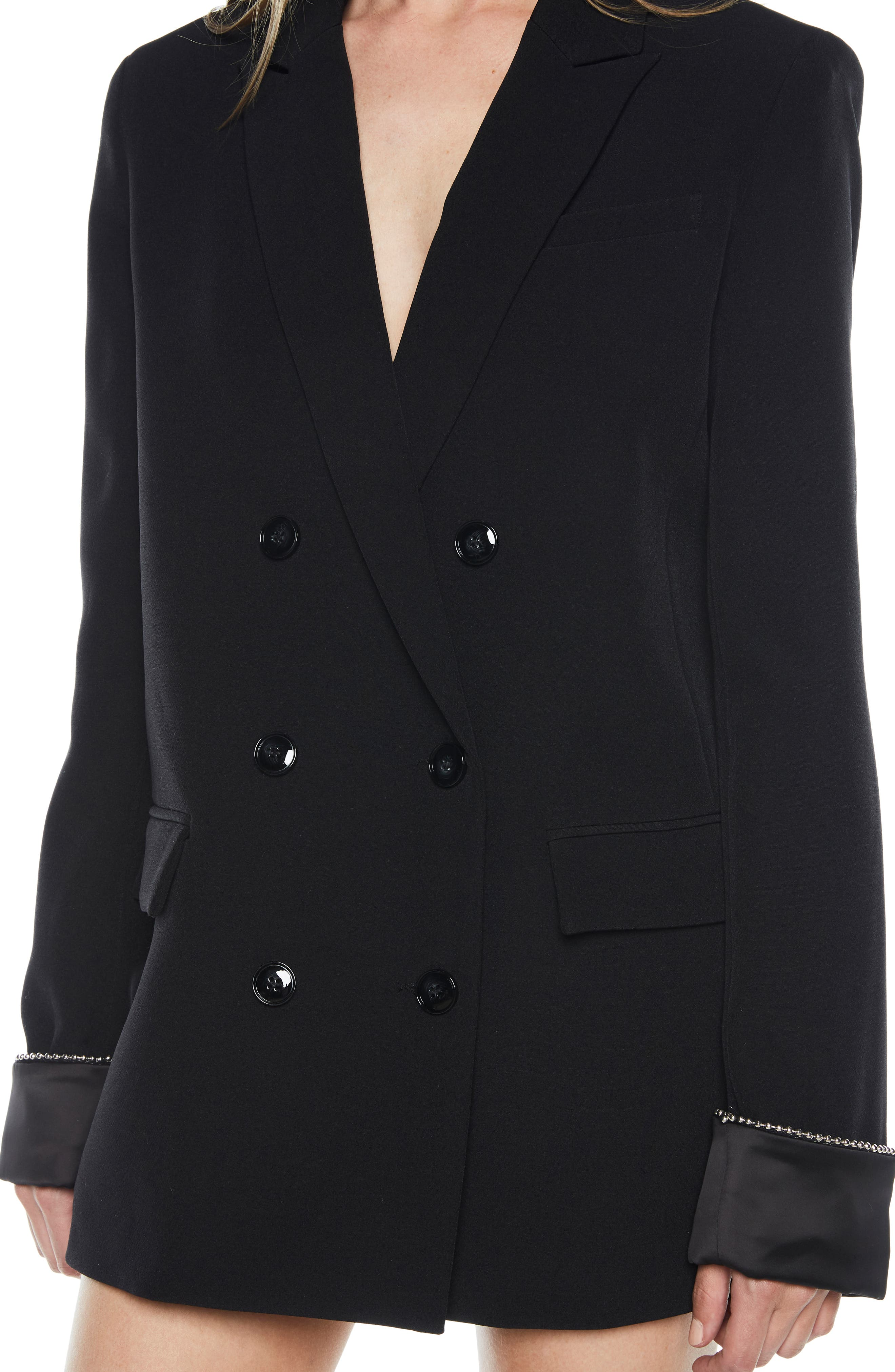 Sienna Double Breasted Jacket,                             Alternate thumbnail 4, color,                             BLACK