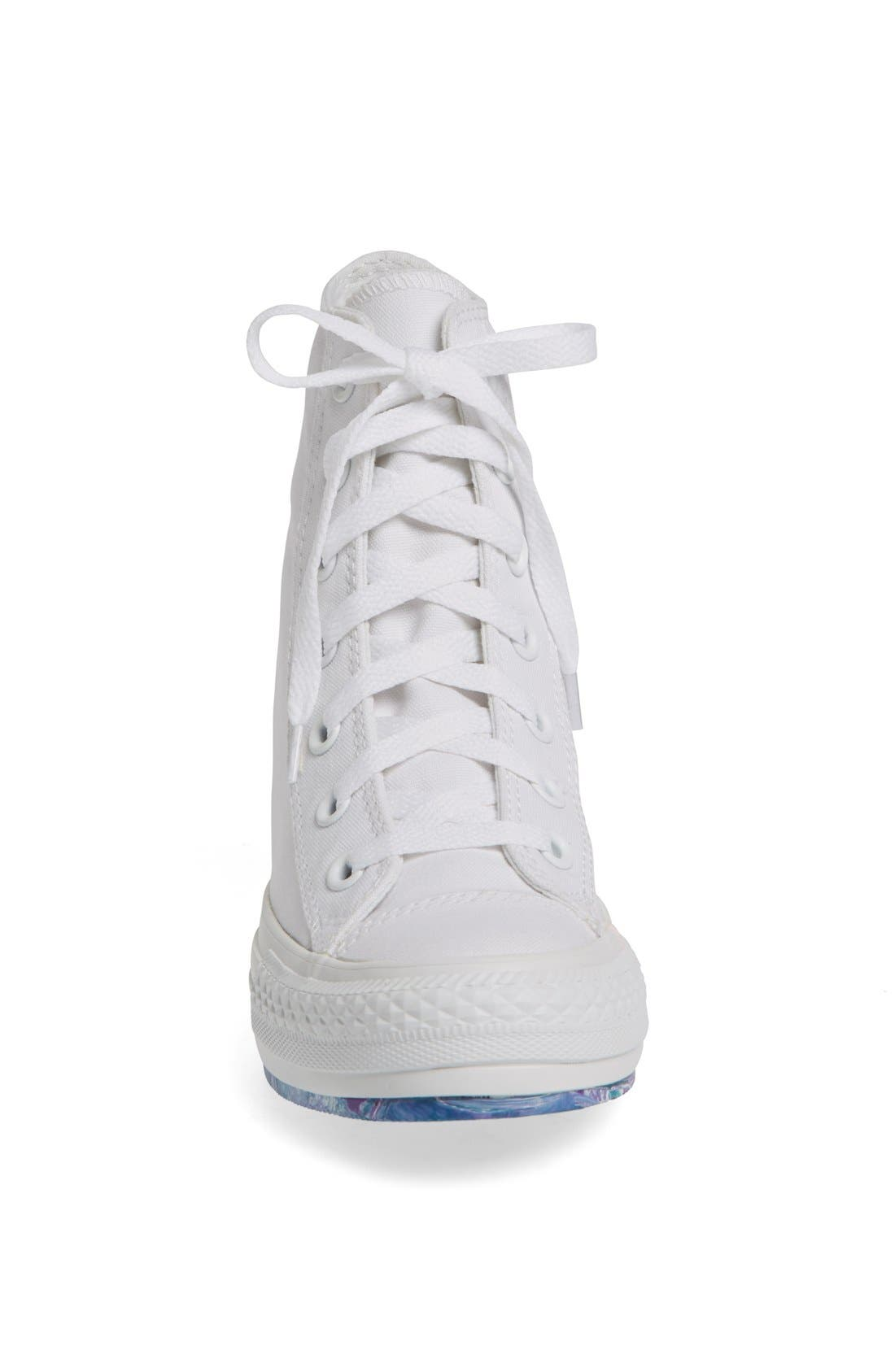 Chuck Taylor<sup>®</sup> All Star<sup>®</sup> 'Platform Plus' Hidden Wedge High-Top Sneaker,                             Alternate thumbnail 3, color,                             100