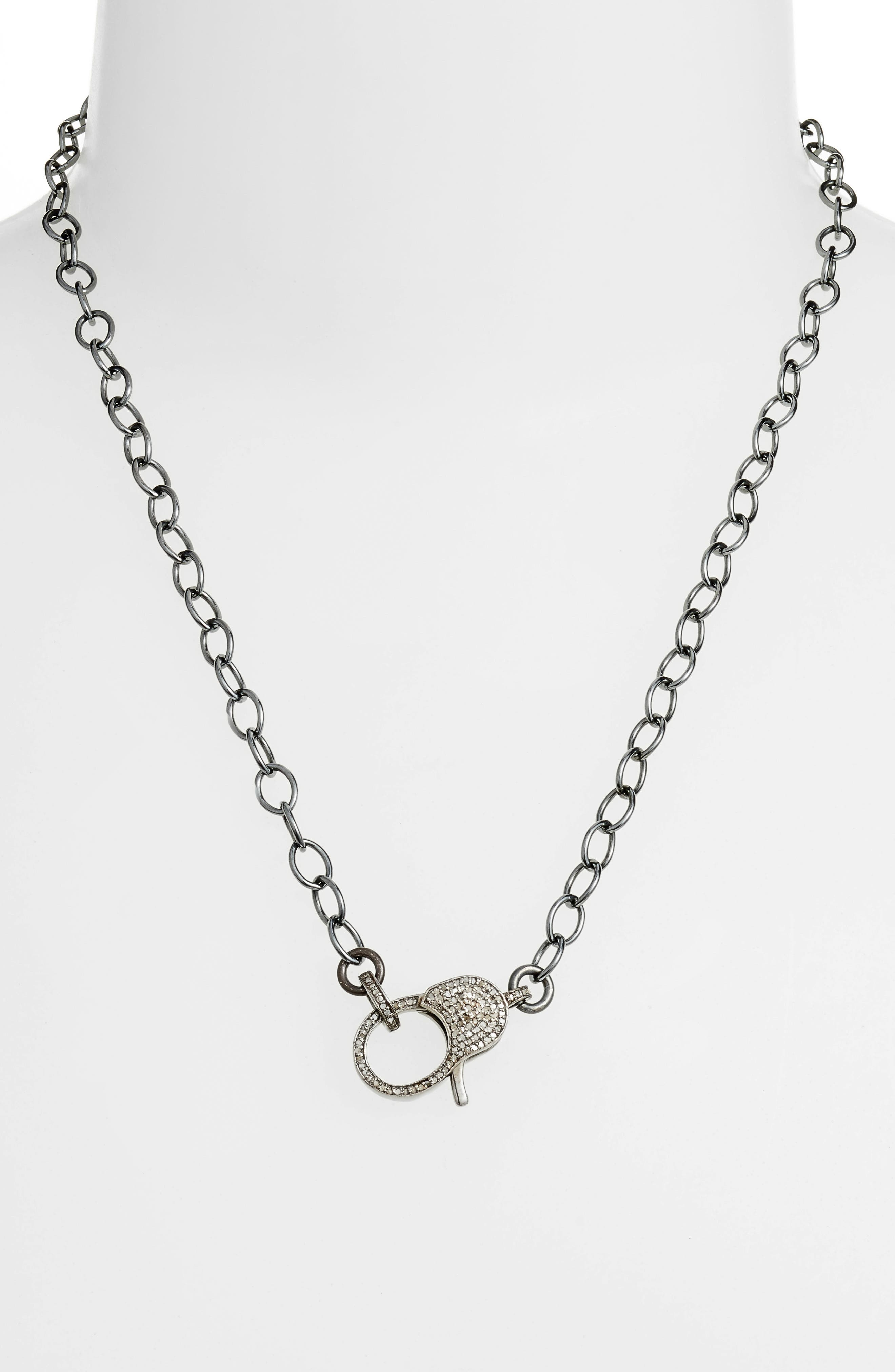 Jane Basch Diamond Pavé Lock Chain Necklace,                             Main thumbnail 1, color,                             SILVER