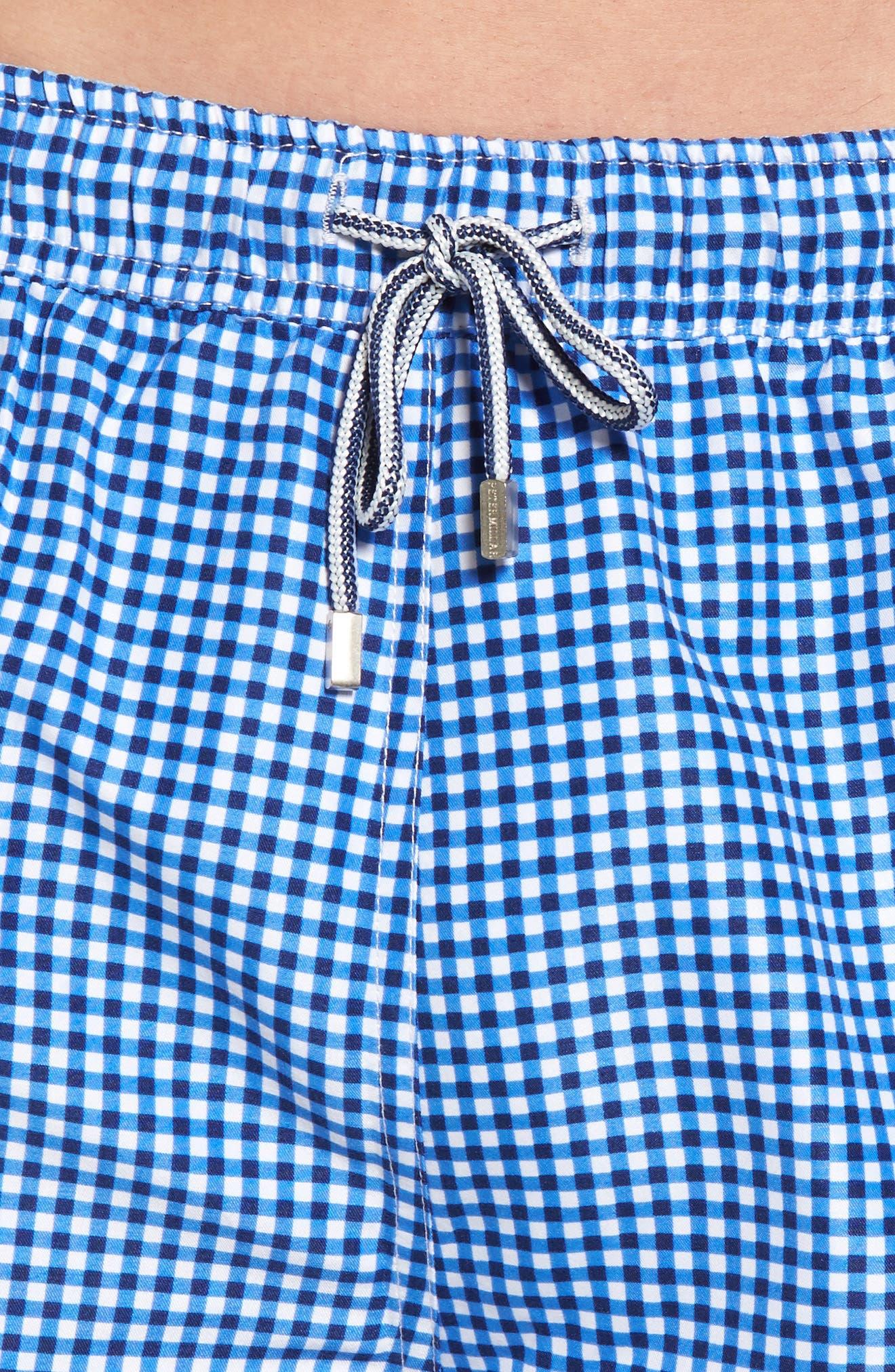 Gingham Style Swim Trunks,                             Alternate thumbnail 4, color,                             ATLANTIC BLUE