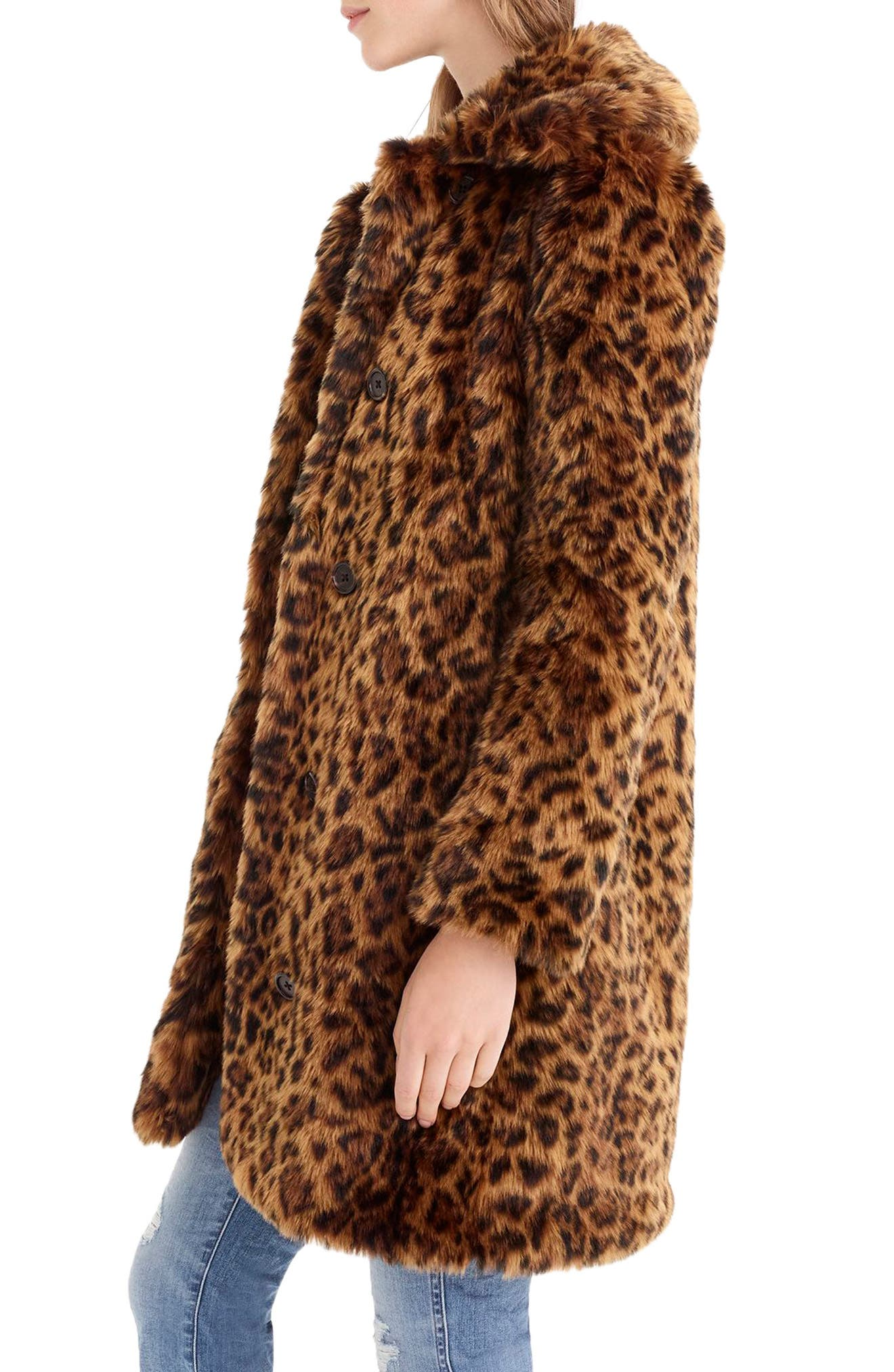 Leopard Print Faux Fur Coat,                             Alternate thumbnail 3, color,                             LEOPARD