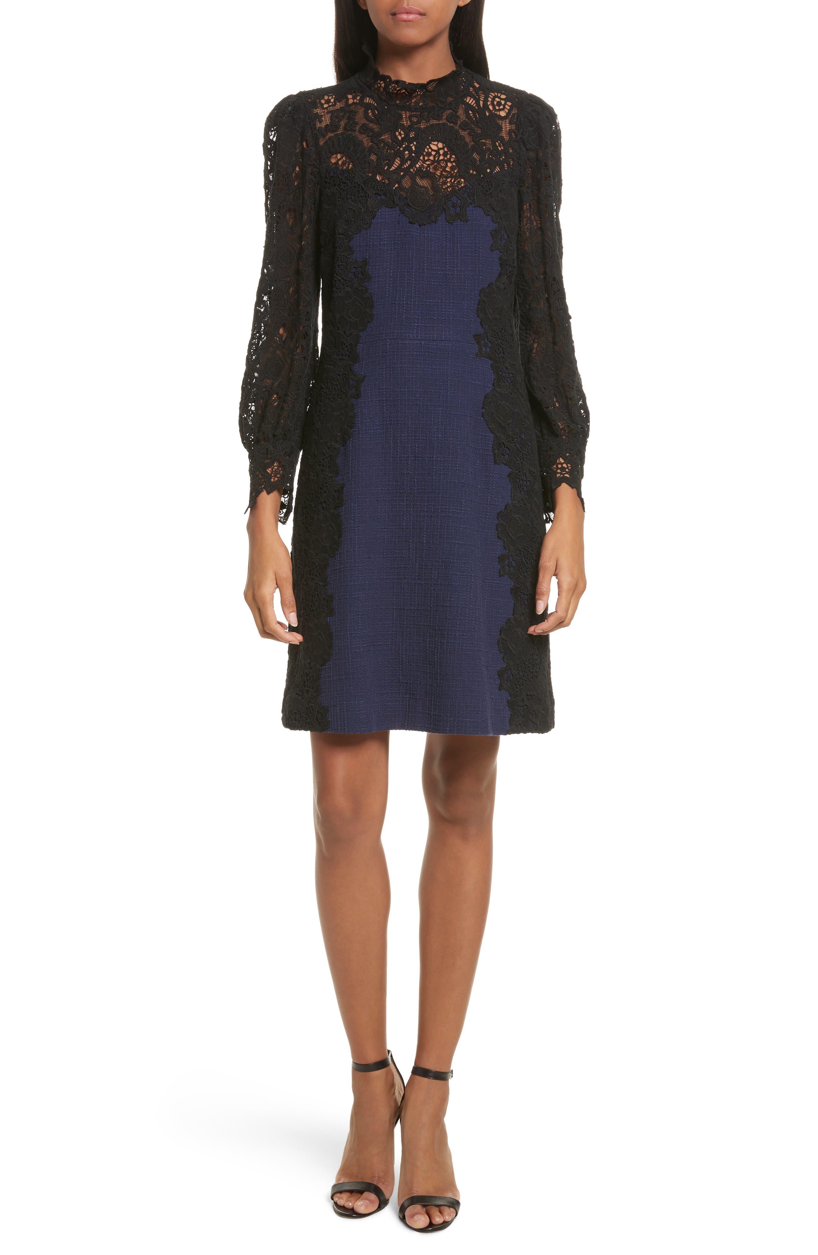 Tweed & Lace Dress,                             Main thumbnail 1, color,                             544