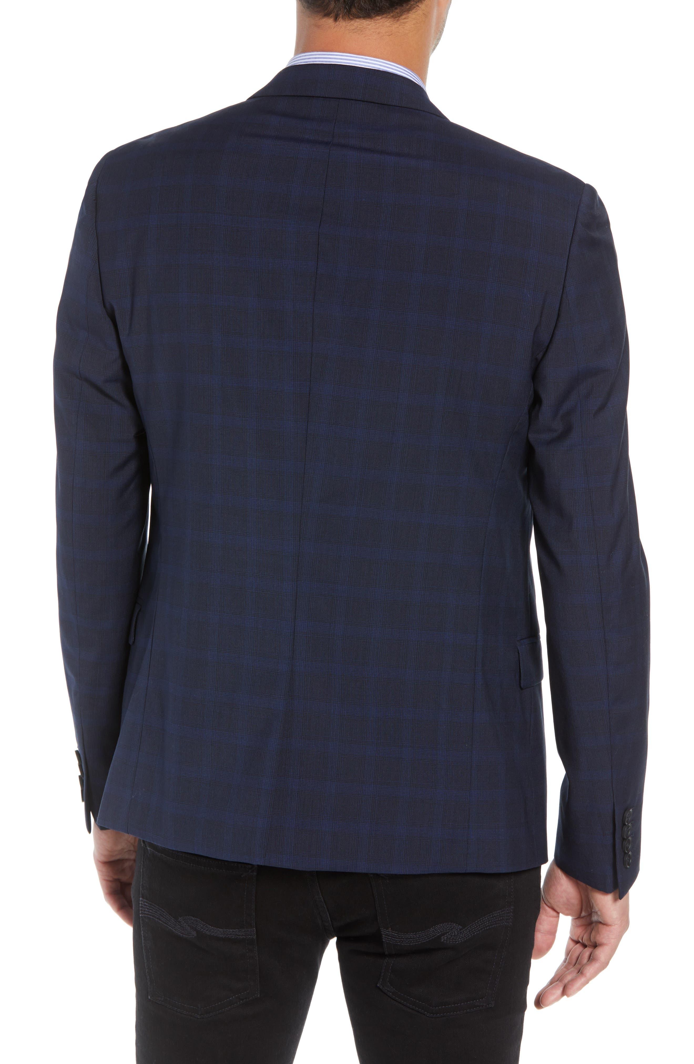 Slim Fit Check Blazer,                             Alternate thumbnail 2, color,                             BLUE