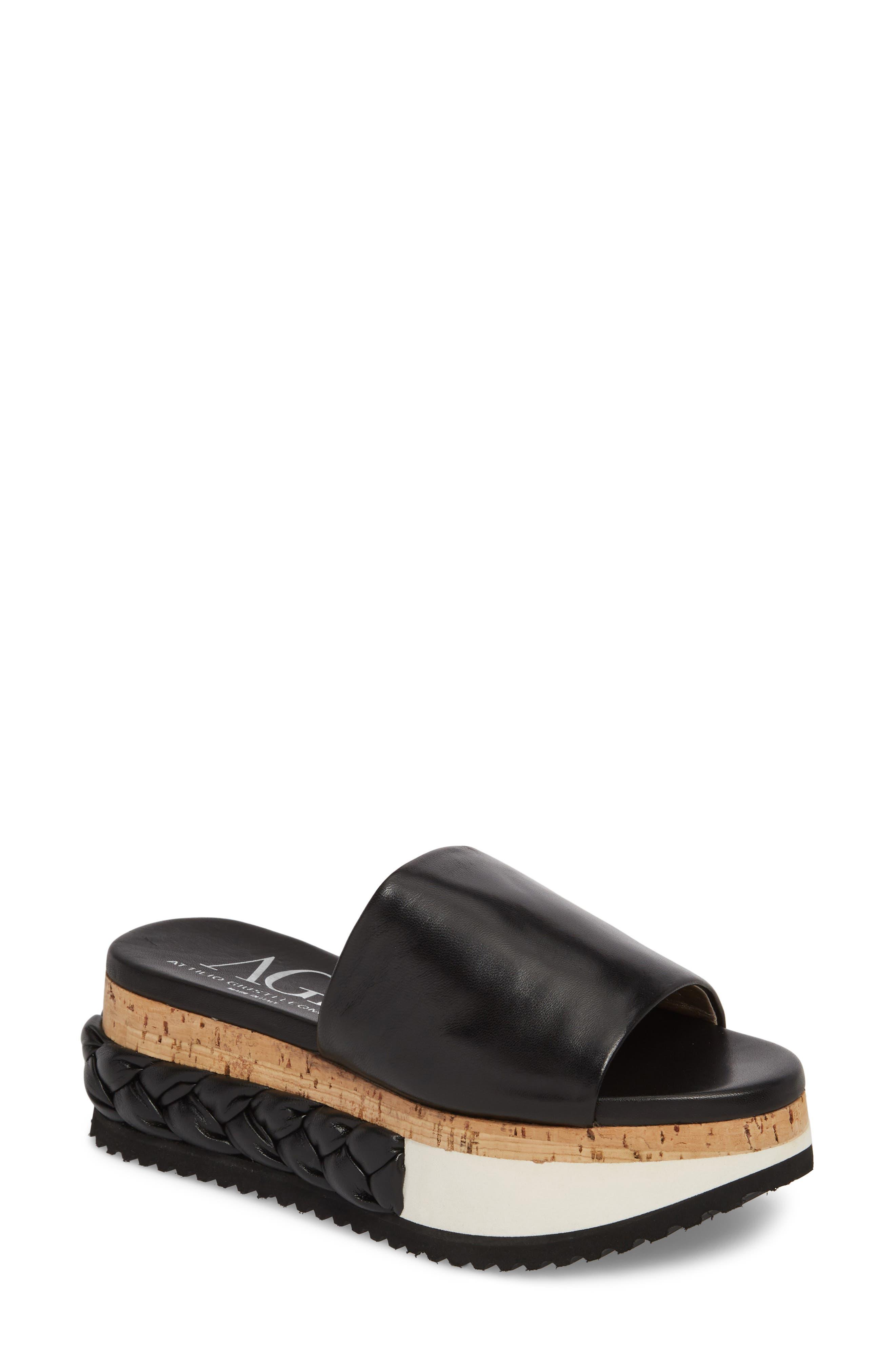 Braided Flatform Slide Sandal,                             Main thumbnail 1, color,                             001