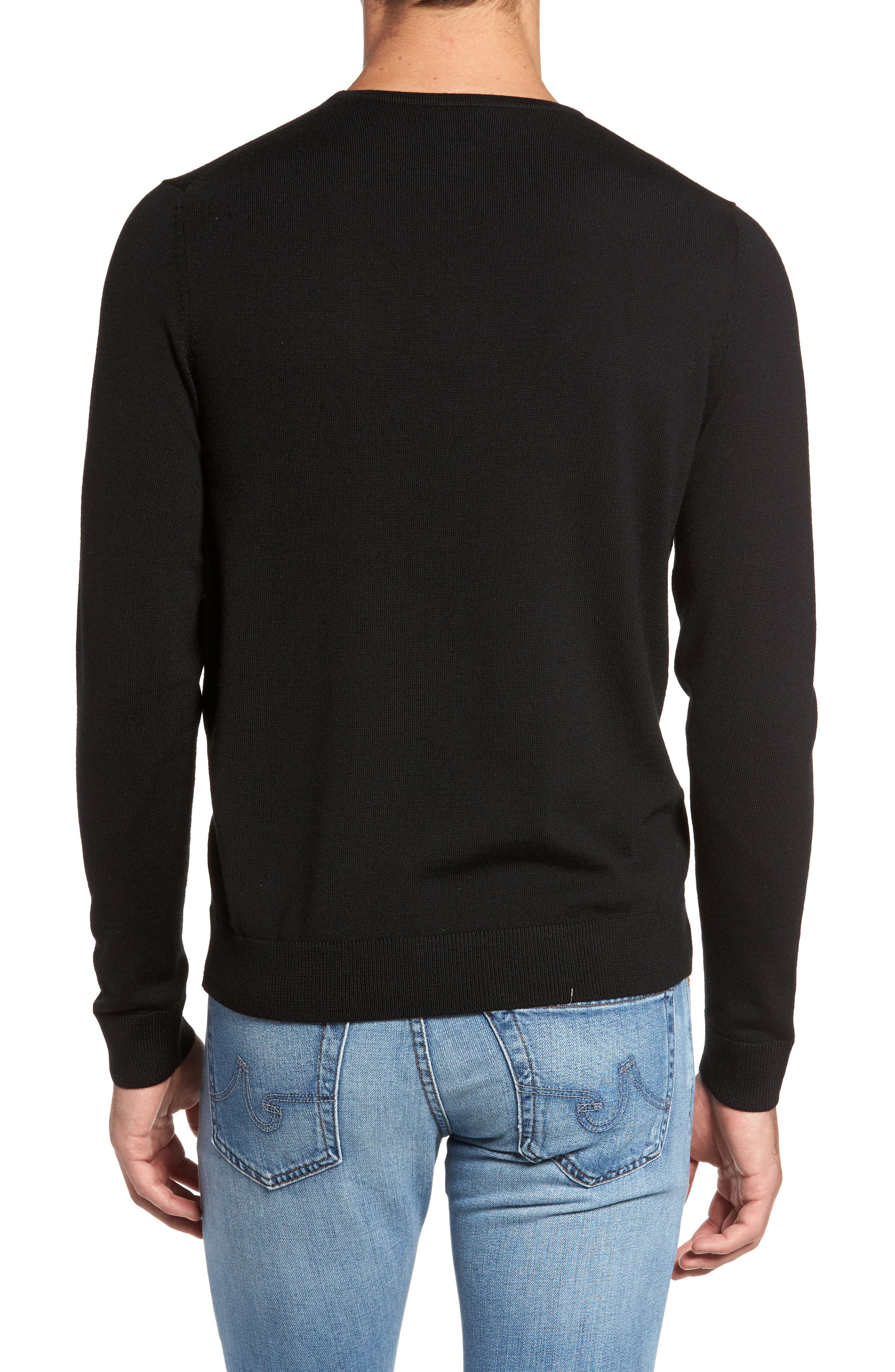 Crewneck Merino Wool Sweater,                             Alternate thumbnail 2, color,                             BLACK CAVIAR