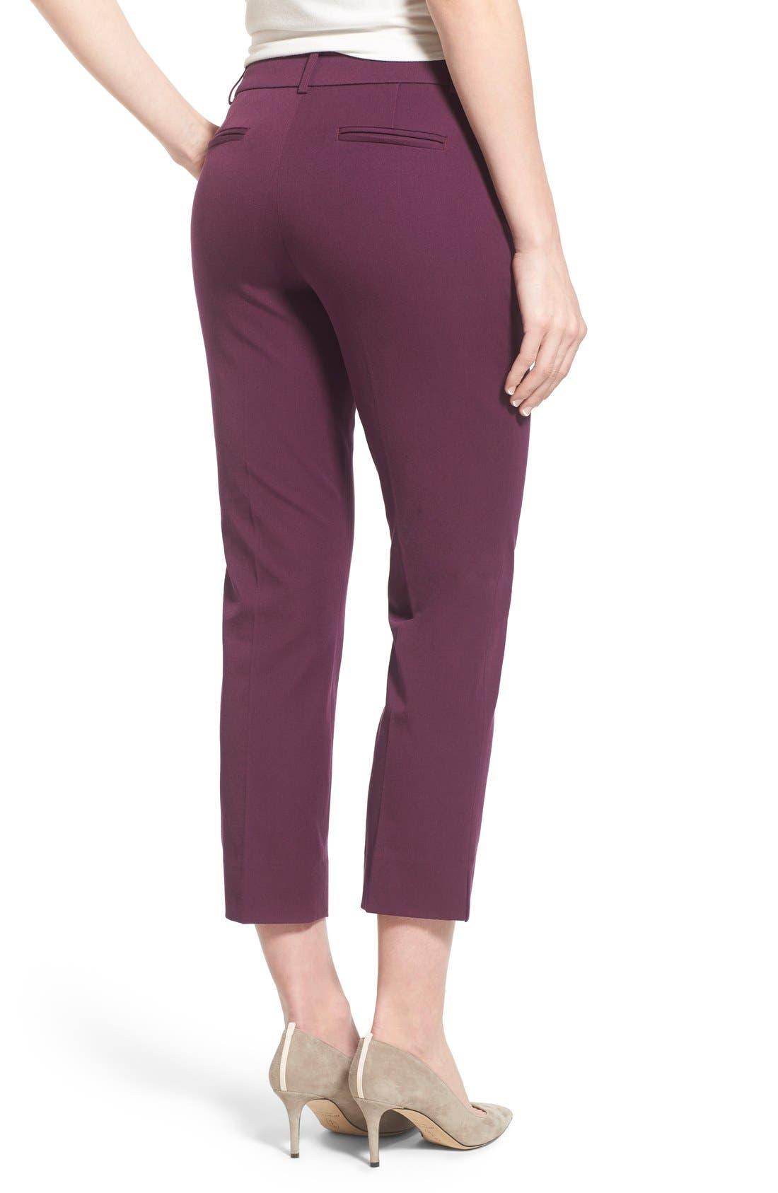 Crop Stretch Cotton Pants,                             Alternate thumbnail 38, color,