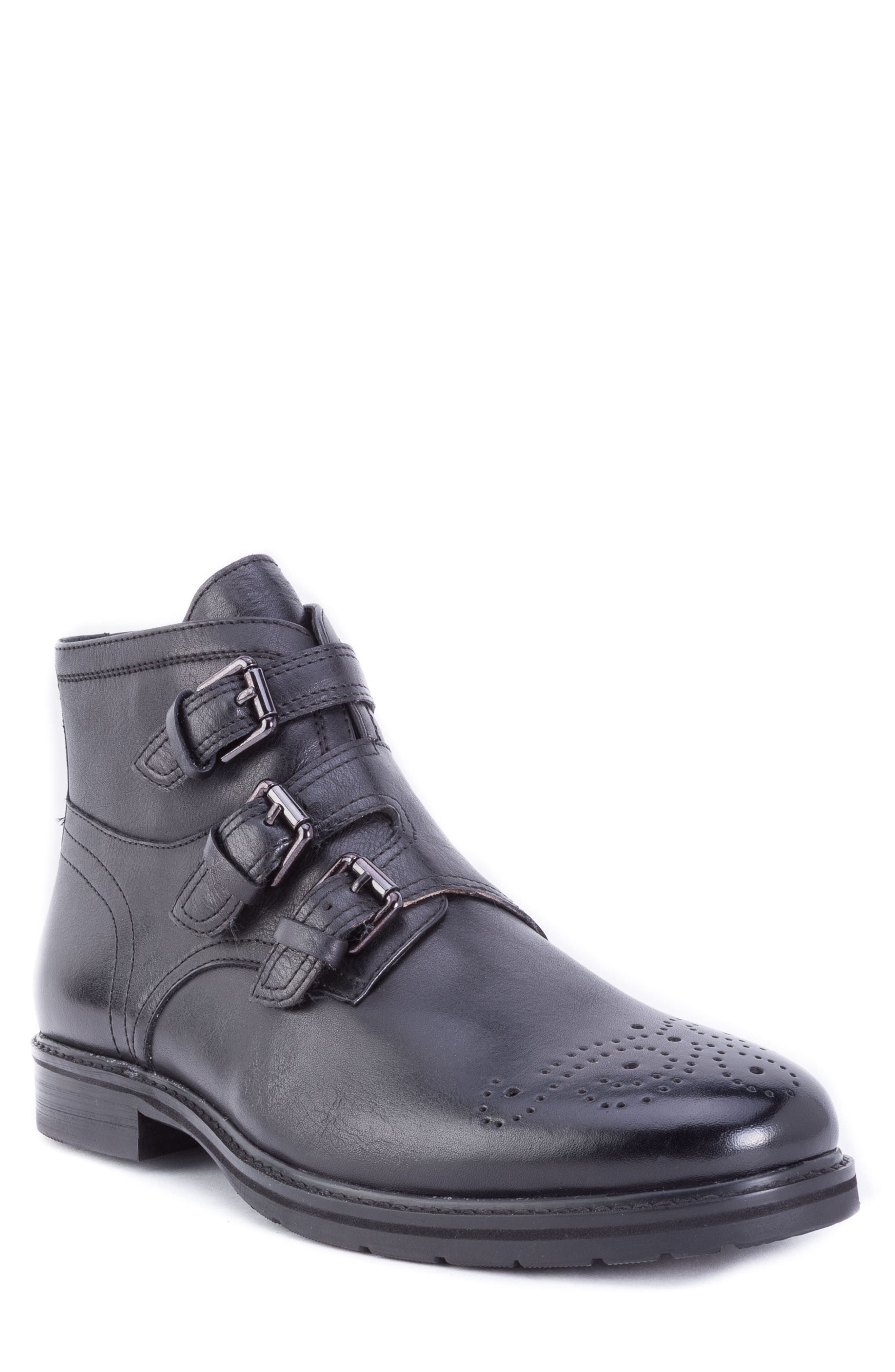 Malden Three Buckle Boot,                         Main,                         color, BLACK LEATHER