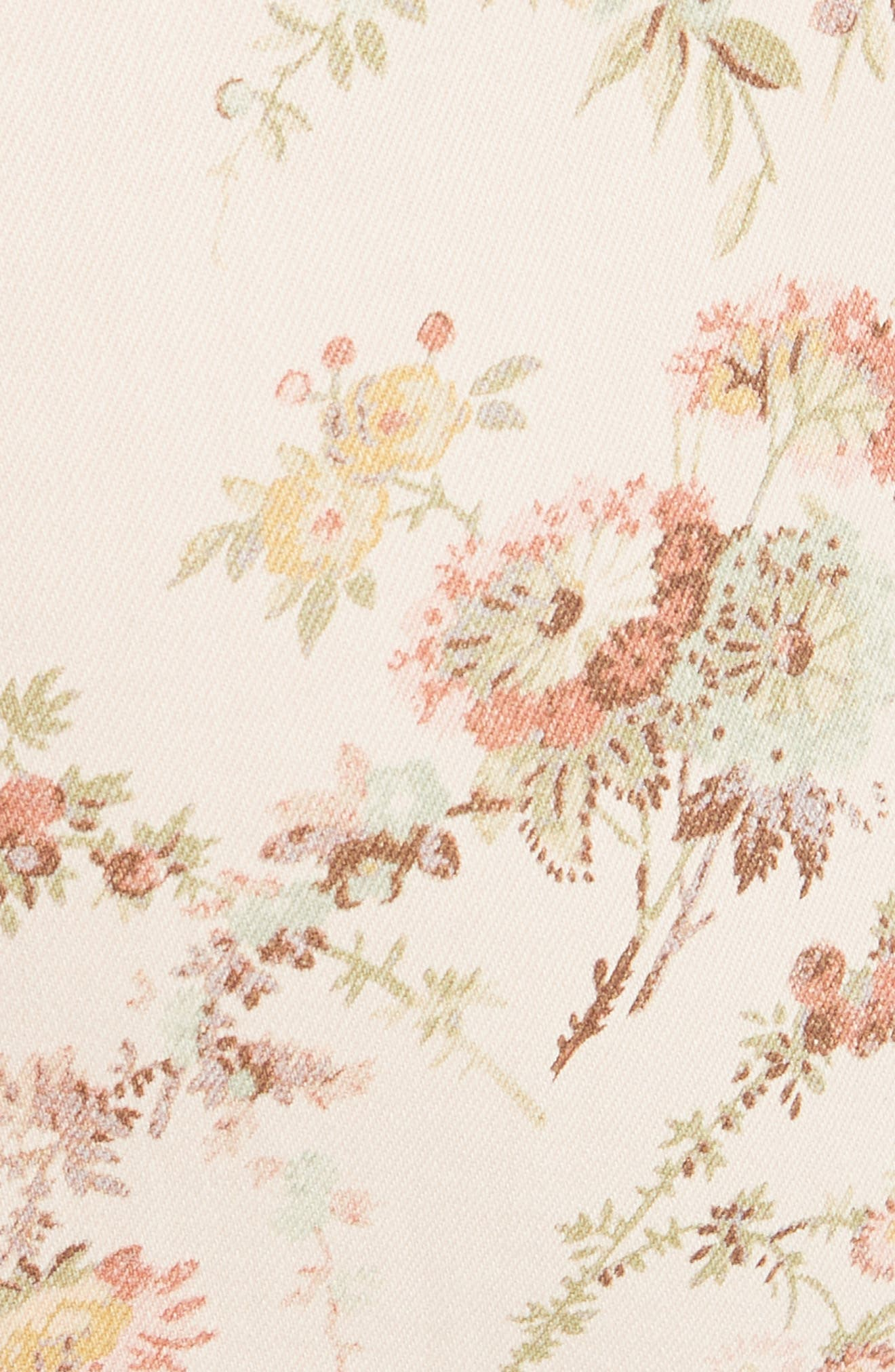 Floral Off the Shoulder Denim Dress,                             Alternate thumbnail 5, color,                             903