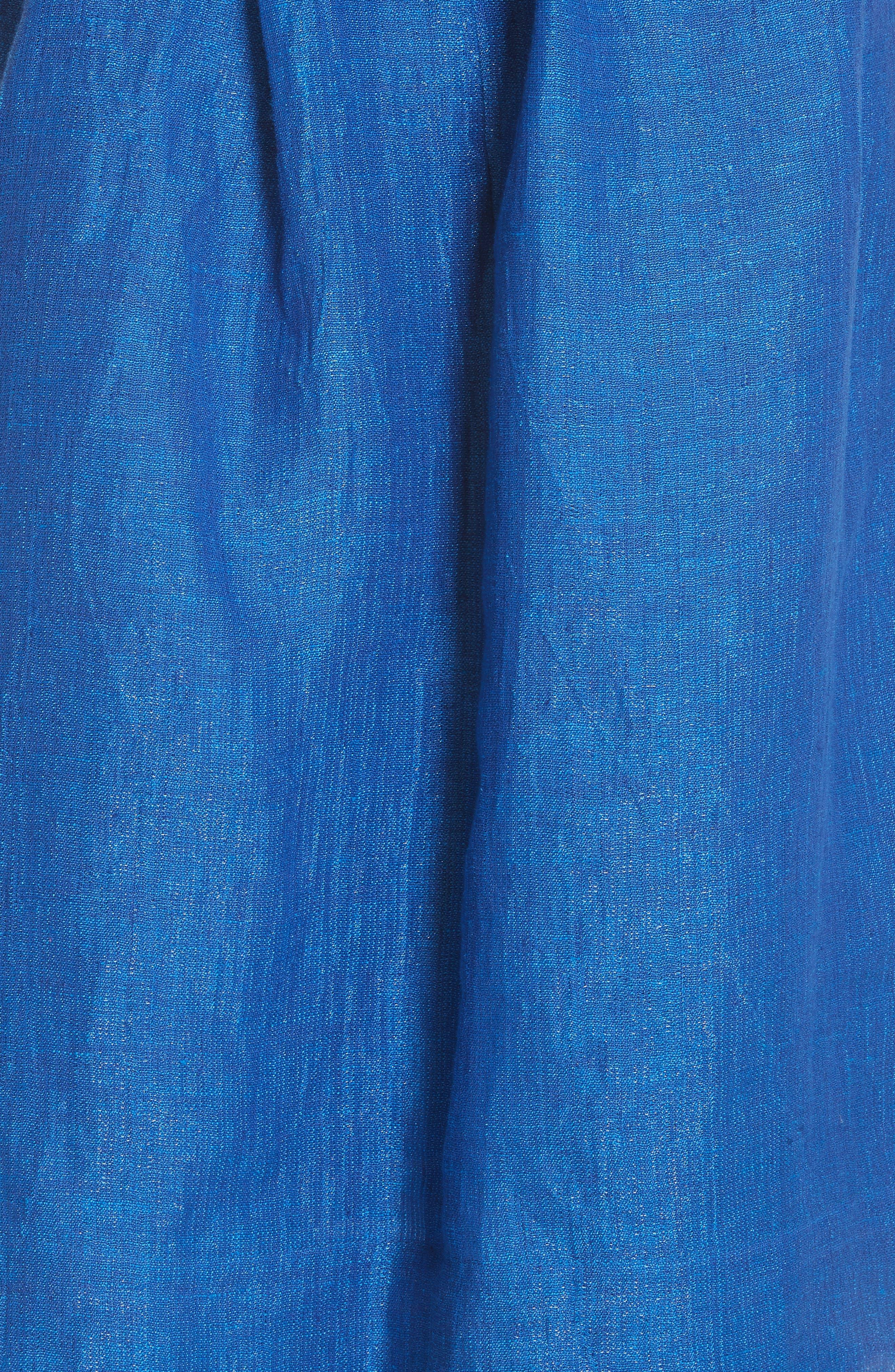 Open Sleeve Backless Linen Blend Dress,                             Alternate thumbnail 5, color,                             409