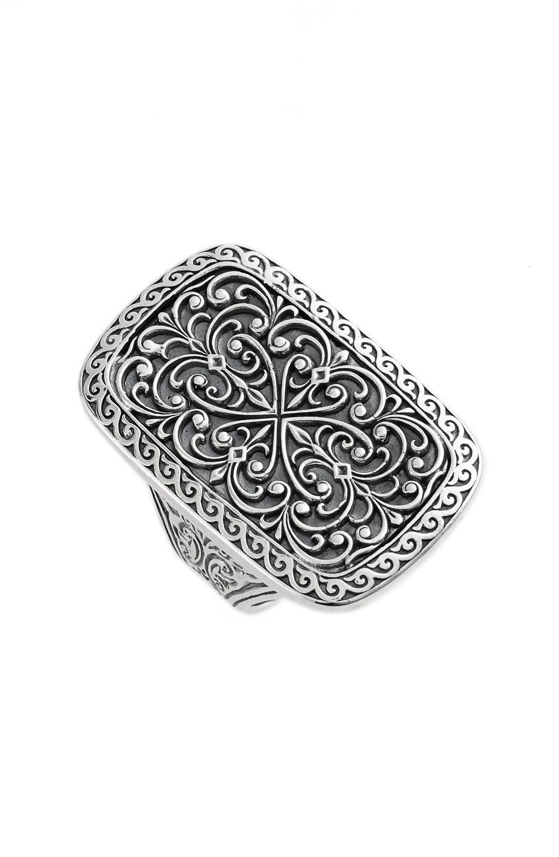 'Classics' Rectangle Filigree Ring,                         Main,                         color, 040