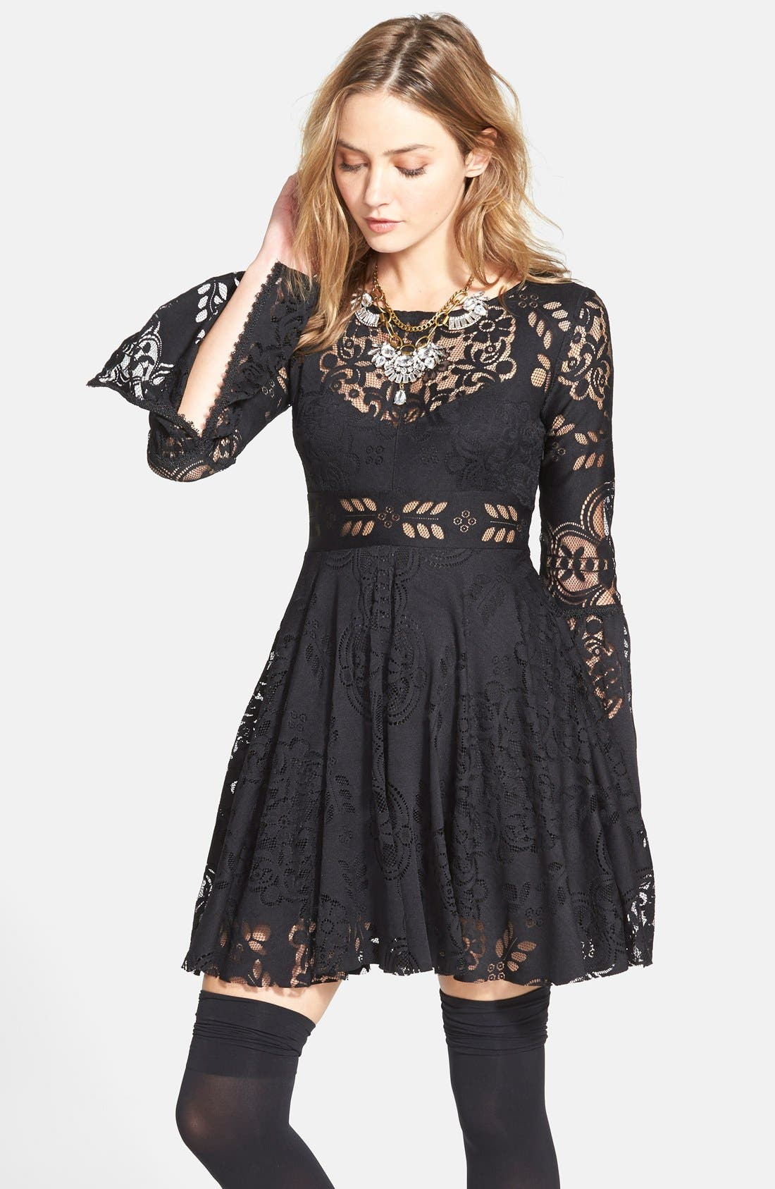 'Lace Lovers Folk Song' Bell Sleeve Cutout Skater Dress,                             Main thumbnail 1, color,