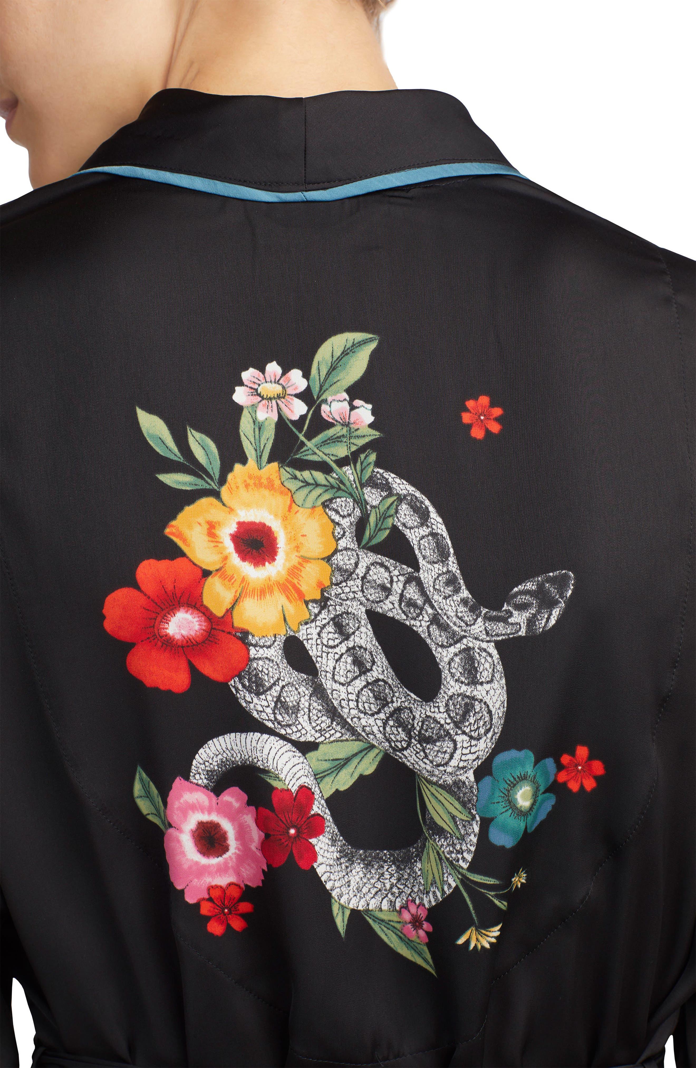 ROOM SERVICE,                             Snake Print Satin Short Robe,                             Alternate thumbnail 3, color,                             001