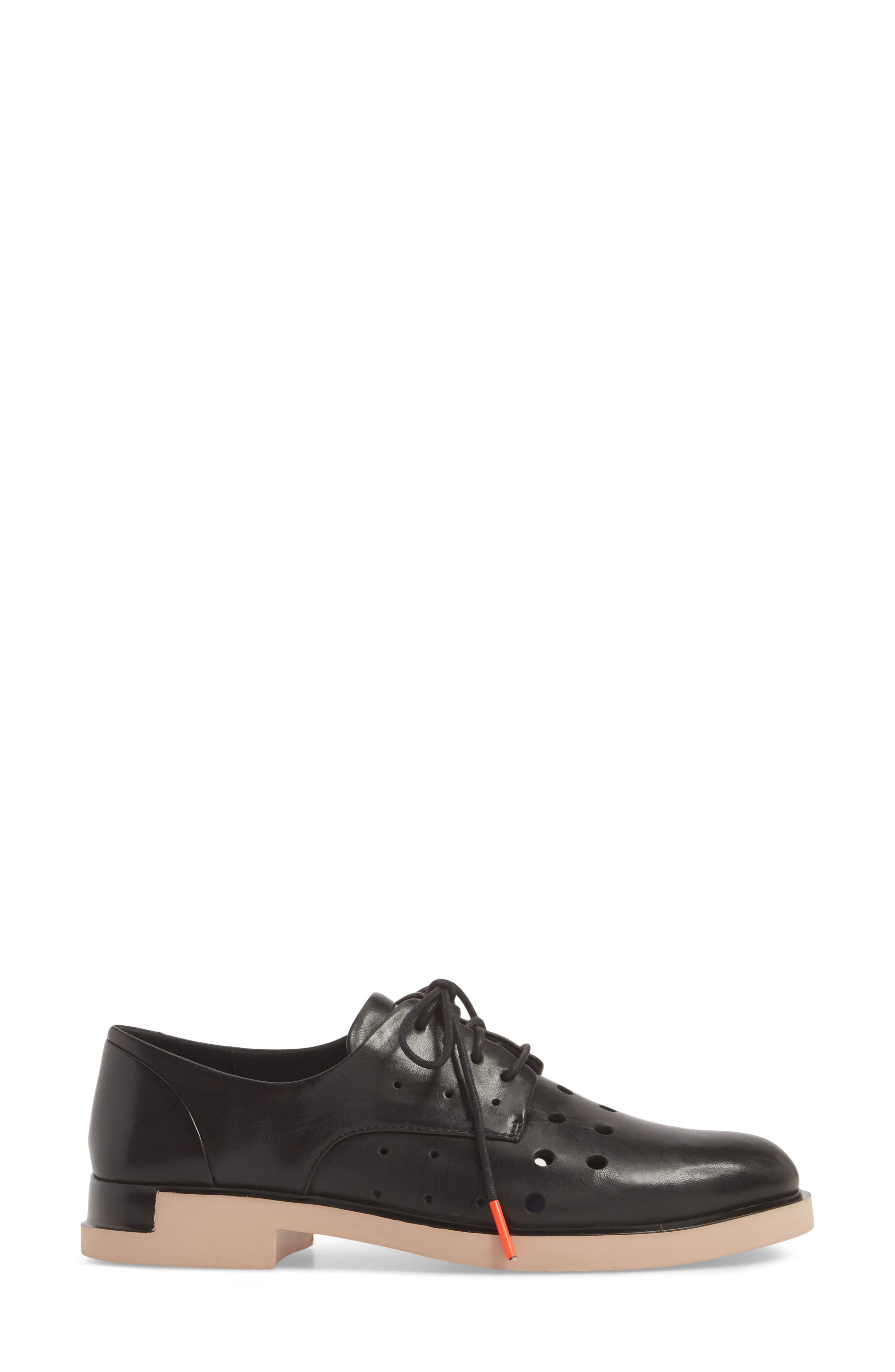 TWS Perforated Derby,                             Alternate thumbnail 3, color,                             BLACK LEATHER