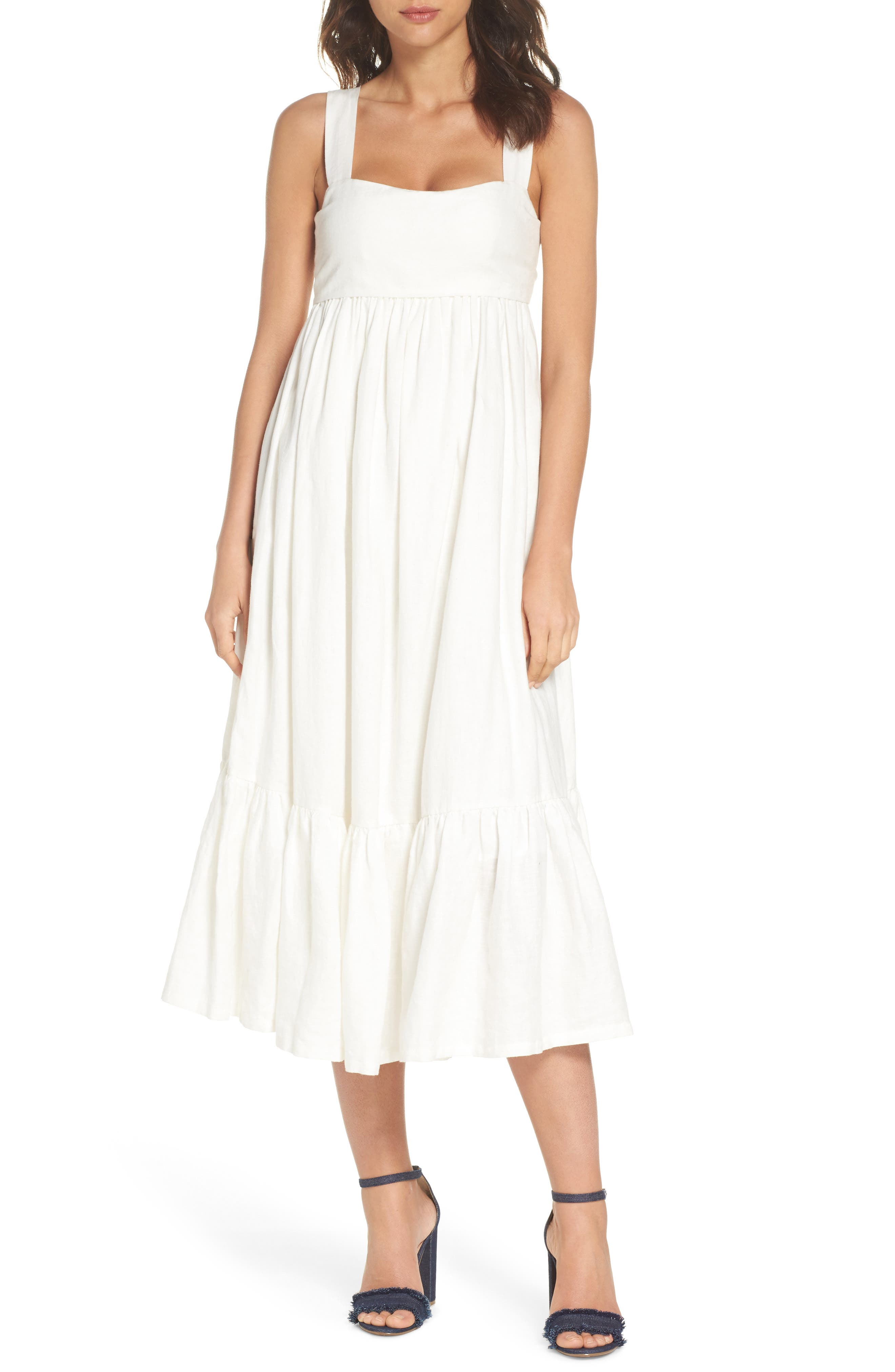 Forget Me Not Linen Midi Dress,                             Main thumbnail 1, color,                             100