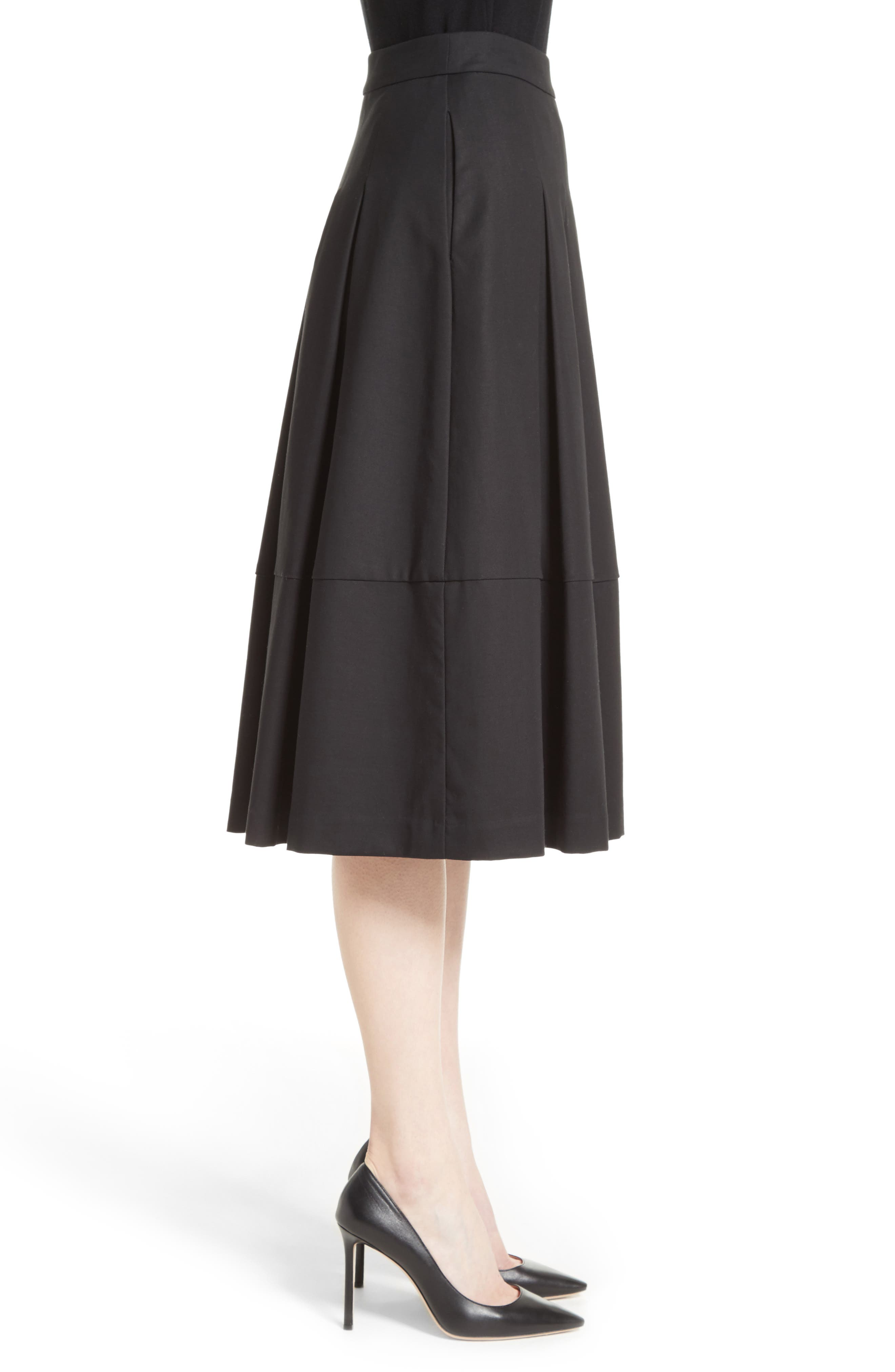 Gabardine Pleated Skirt,                             Alternate thumbnail 3, color,                             001