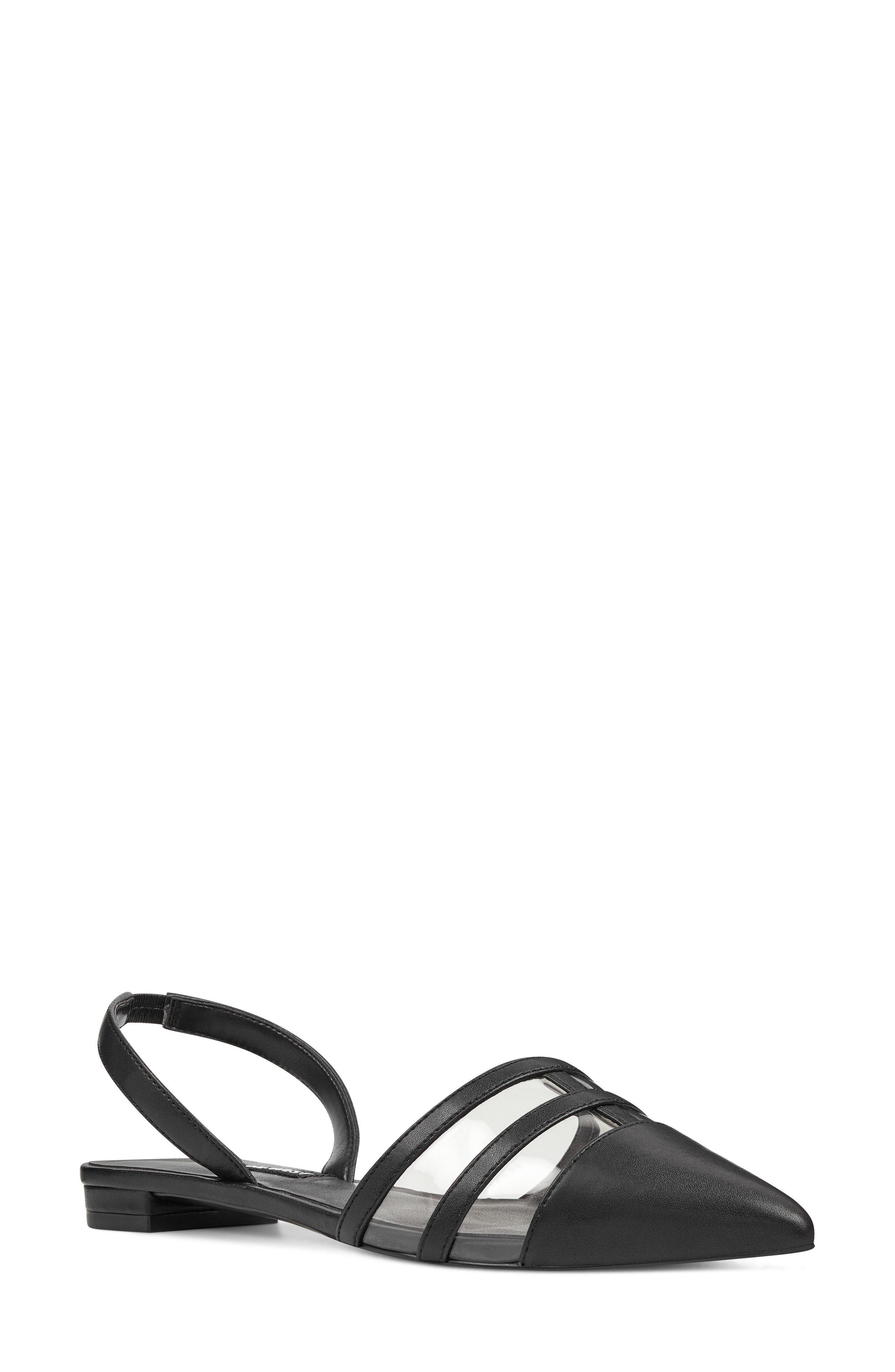 Pointy Toe Flat,                         Main,                         color, GREY/ BLACK FAUX LEATHER