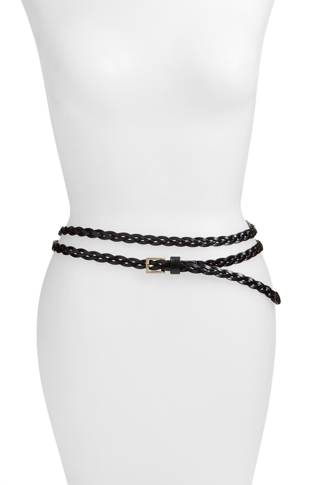 'Florence' Calfskin Leather Double Wrap Belt,                             Main thumbnail 1, color,