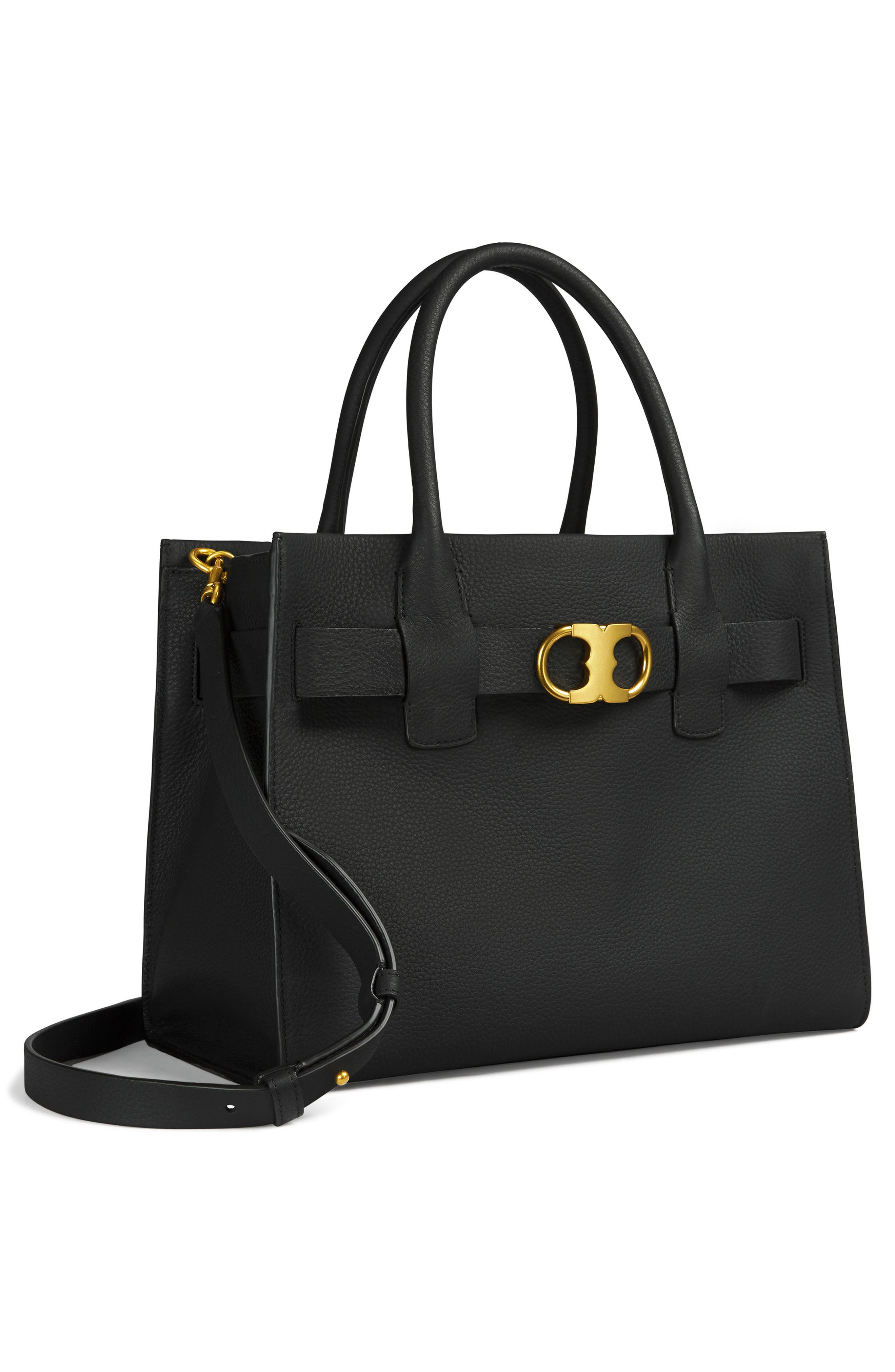 TORY BURCH,                             Gemini Link Leather Tote,                             Alternate thumbnail 6, color,                             001